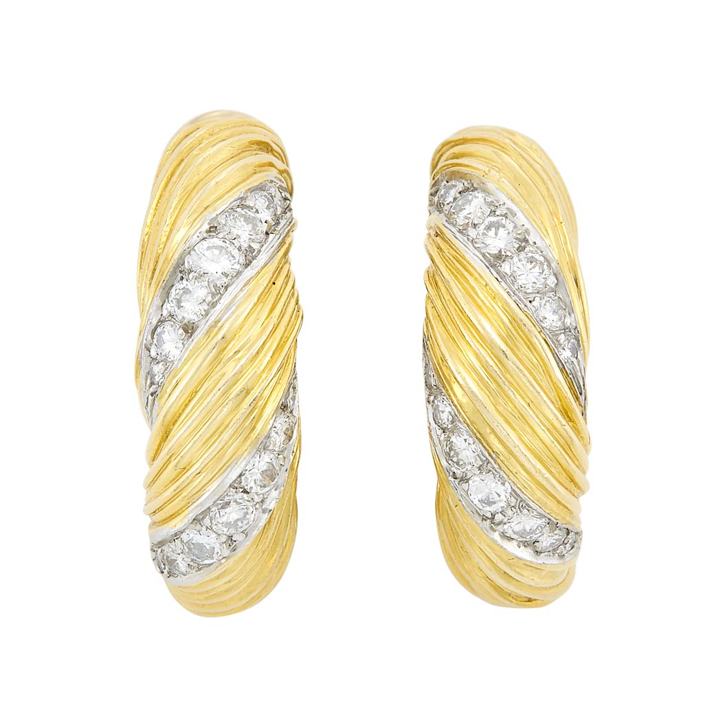 Lot image - Pair of Two-Color Gold and Diamond Hoop Earrings, Kutchinsky