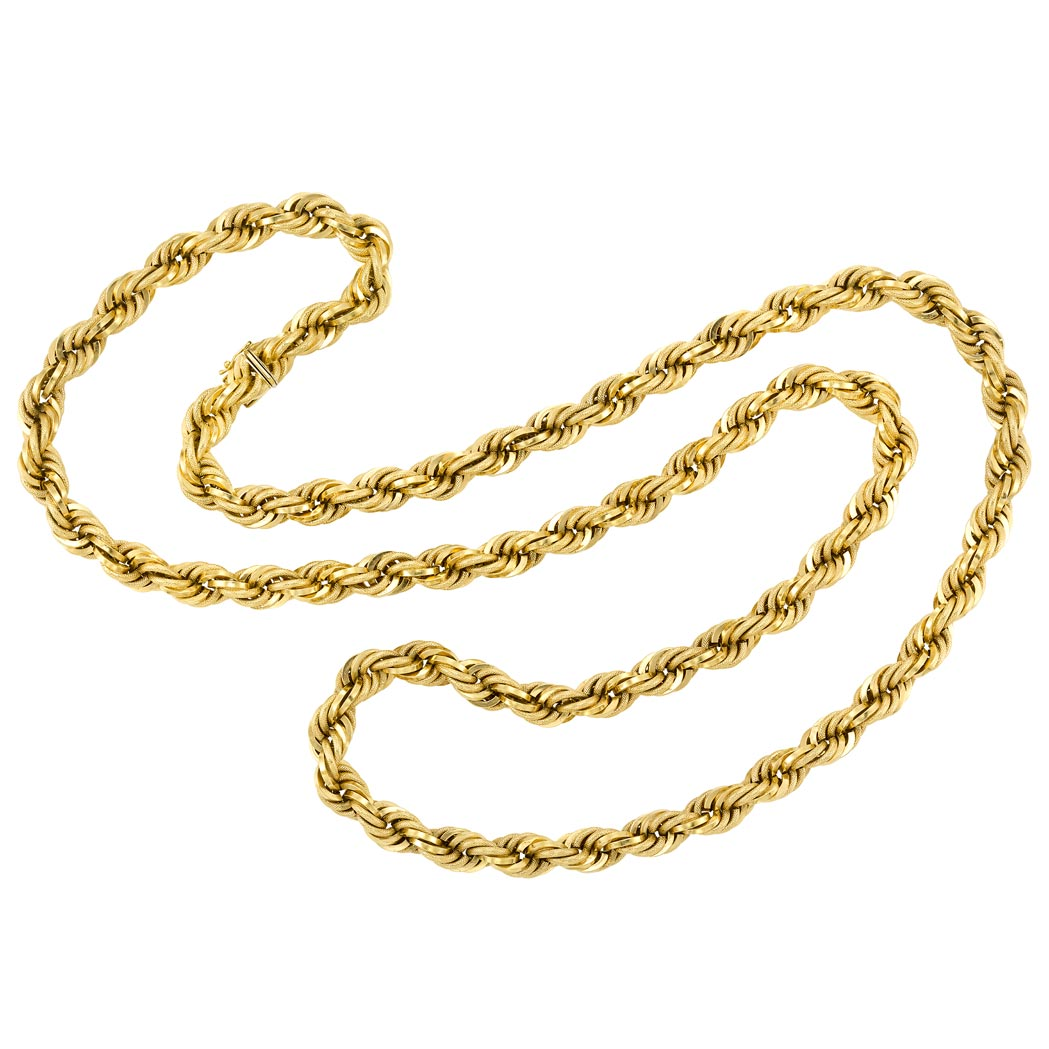 Lot image - Long Rope-Twist Gold Chain Necklace