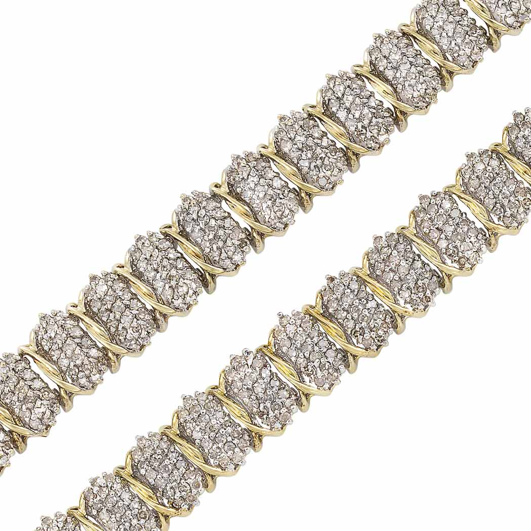 Lot image - Pair of Two-Color Low Karat Gold and Diamond Bracelets