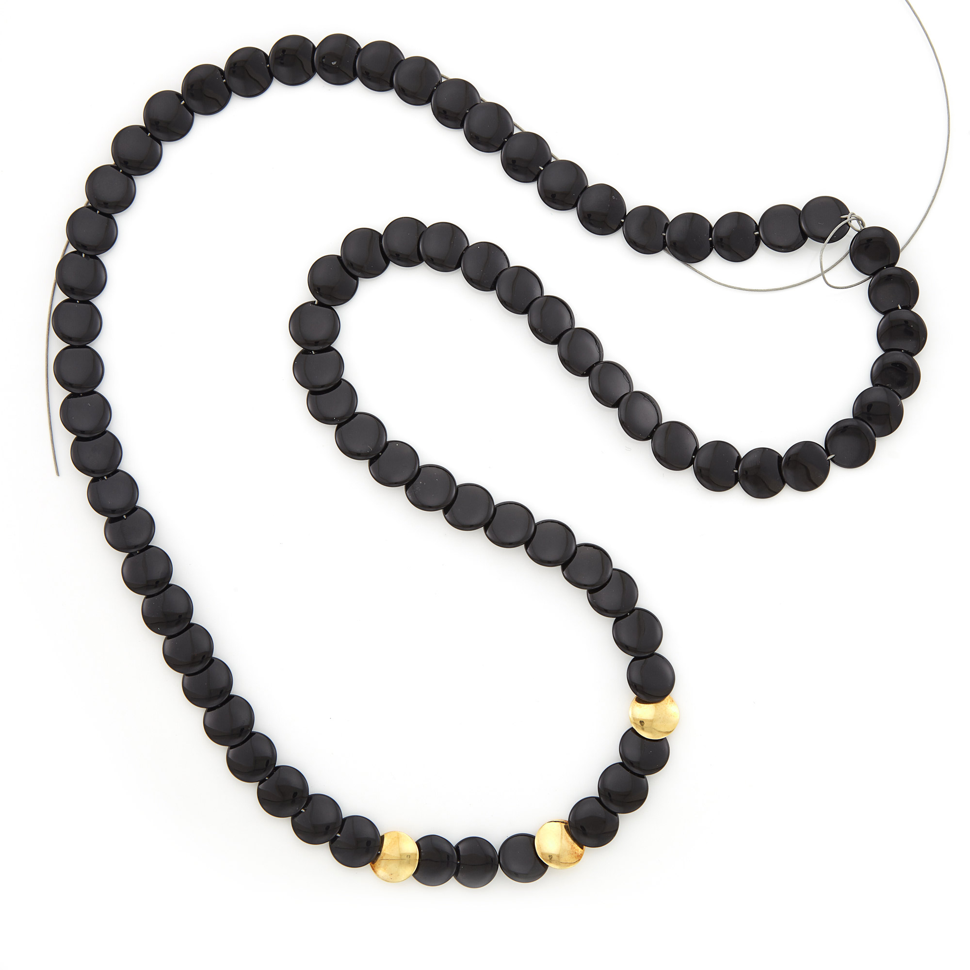 Lot image - Black Onyx and Gold Strand, by Tiffany & Co.