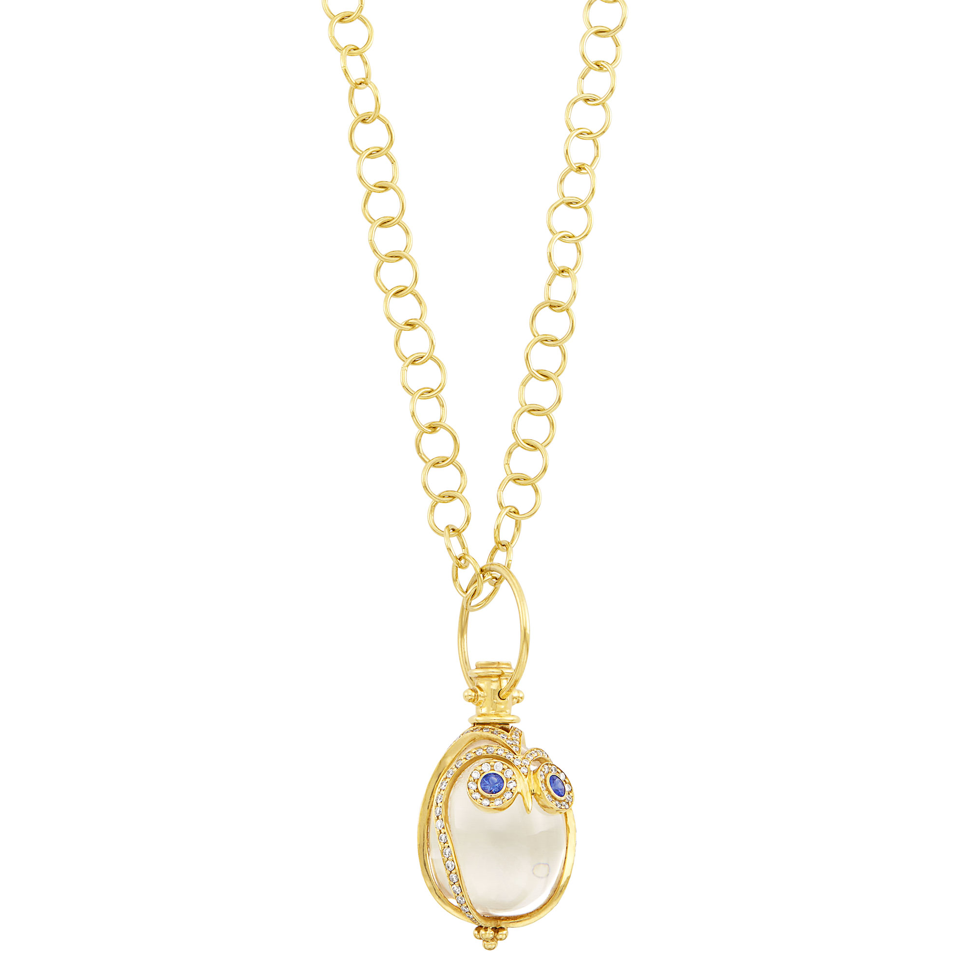 Lot image - Gold, Rock Crystal, Diamond and Sapphire Owl Pendant with Chain Necklace, Temple St. Clair