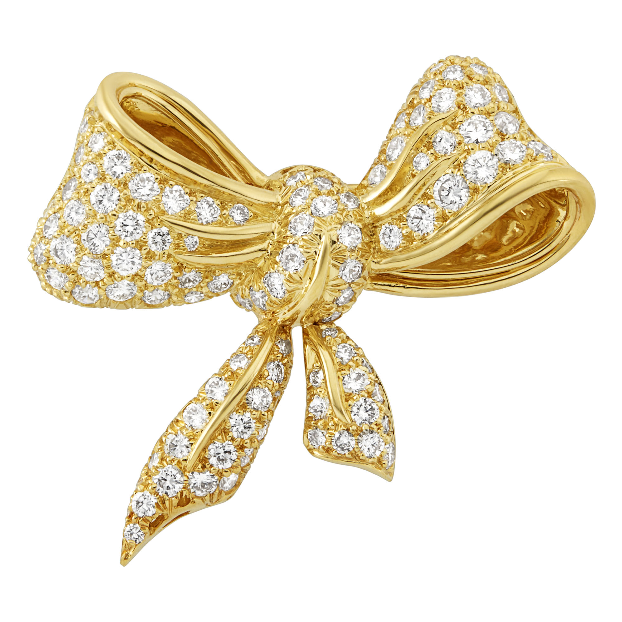 Lot image - Gold and Diamond Bow Brooch