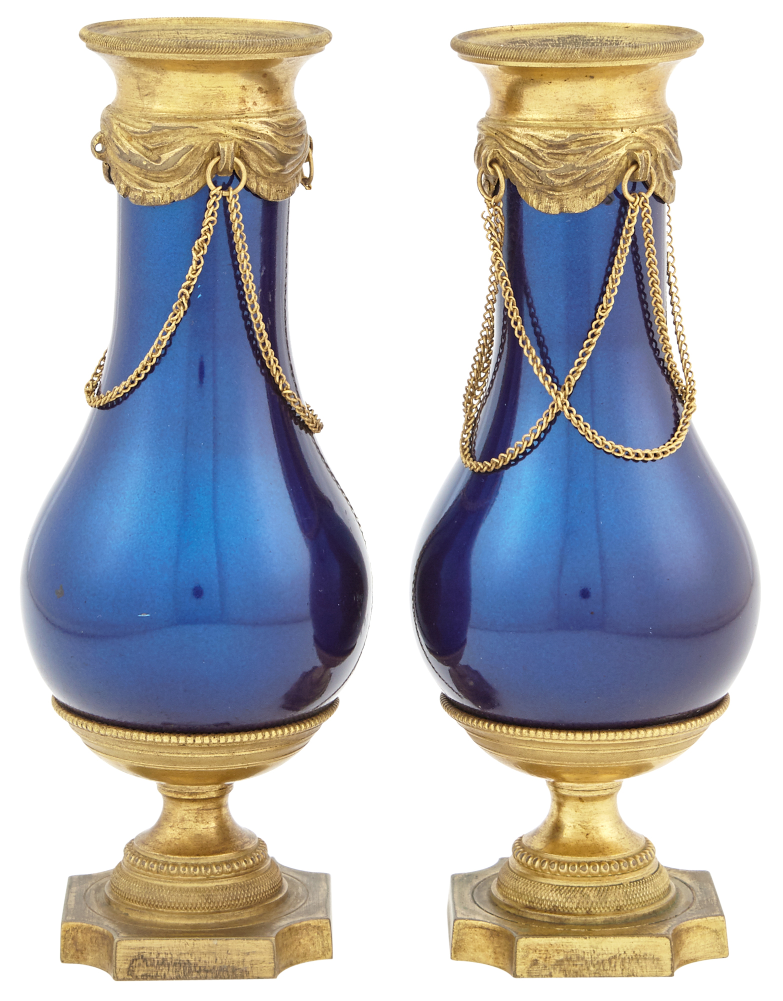 Lot image - Pair of Continental Neoclassical Blue Enamel Vases