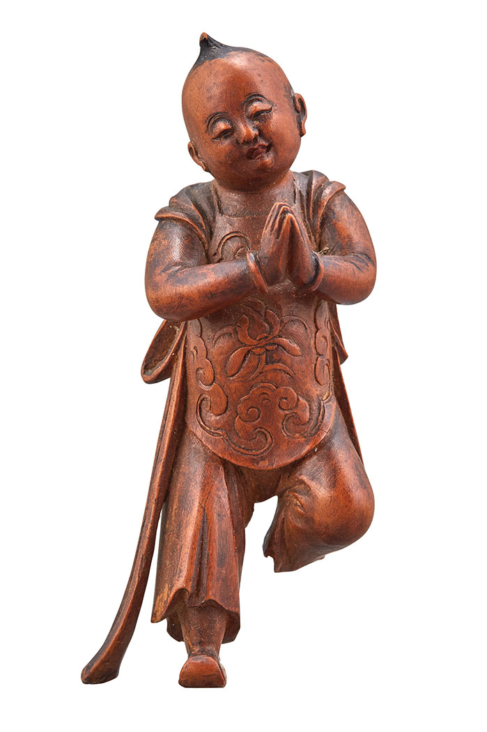 Lot image - Chinese Boxwood Figure of a Boy