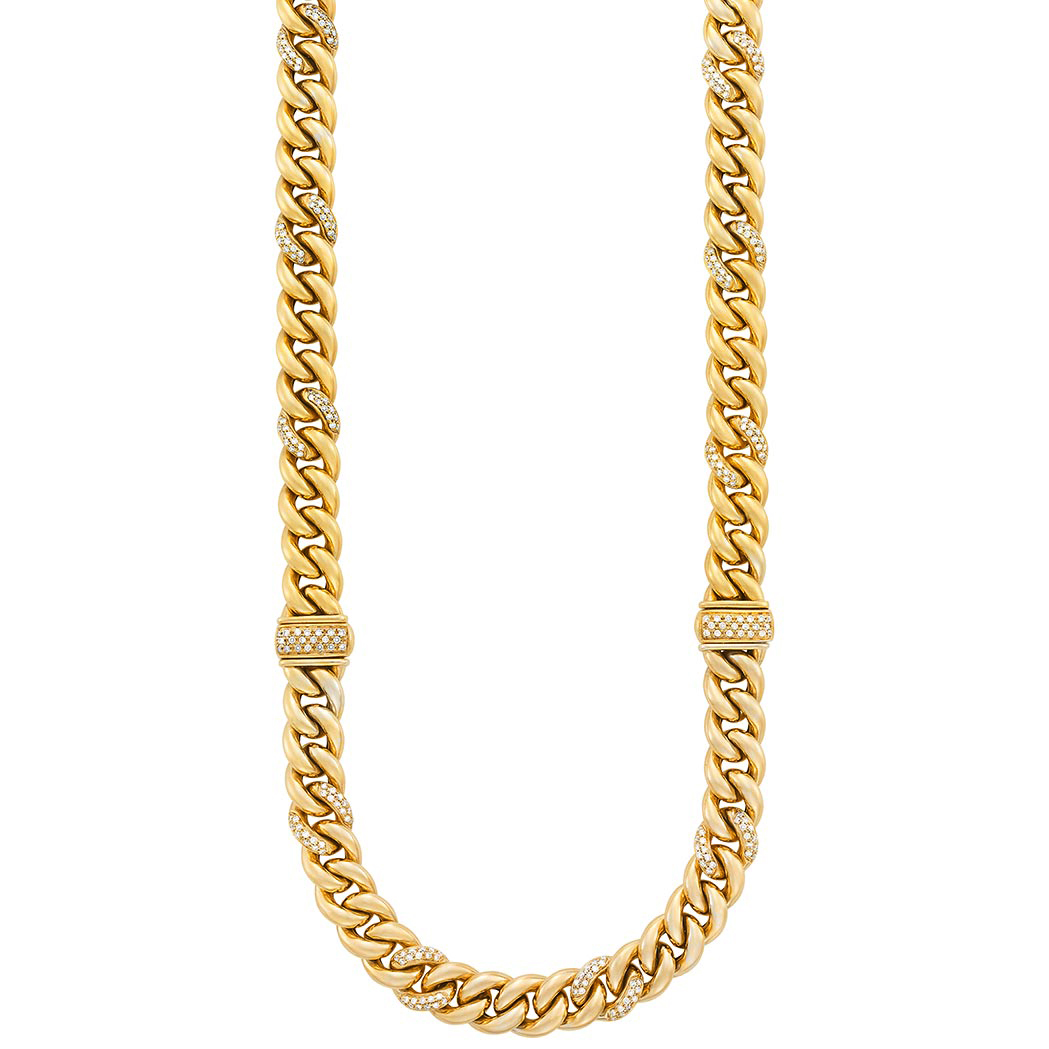 Lot image - Gold and Diamond Curb Link Necklace/ Bracelets Combination