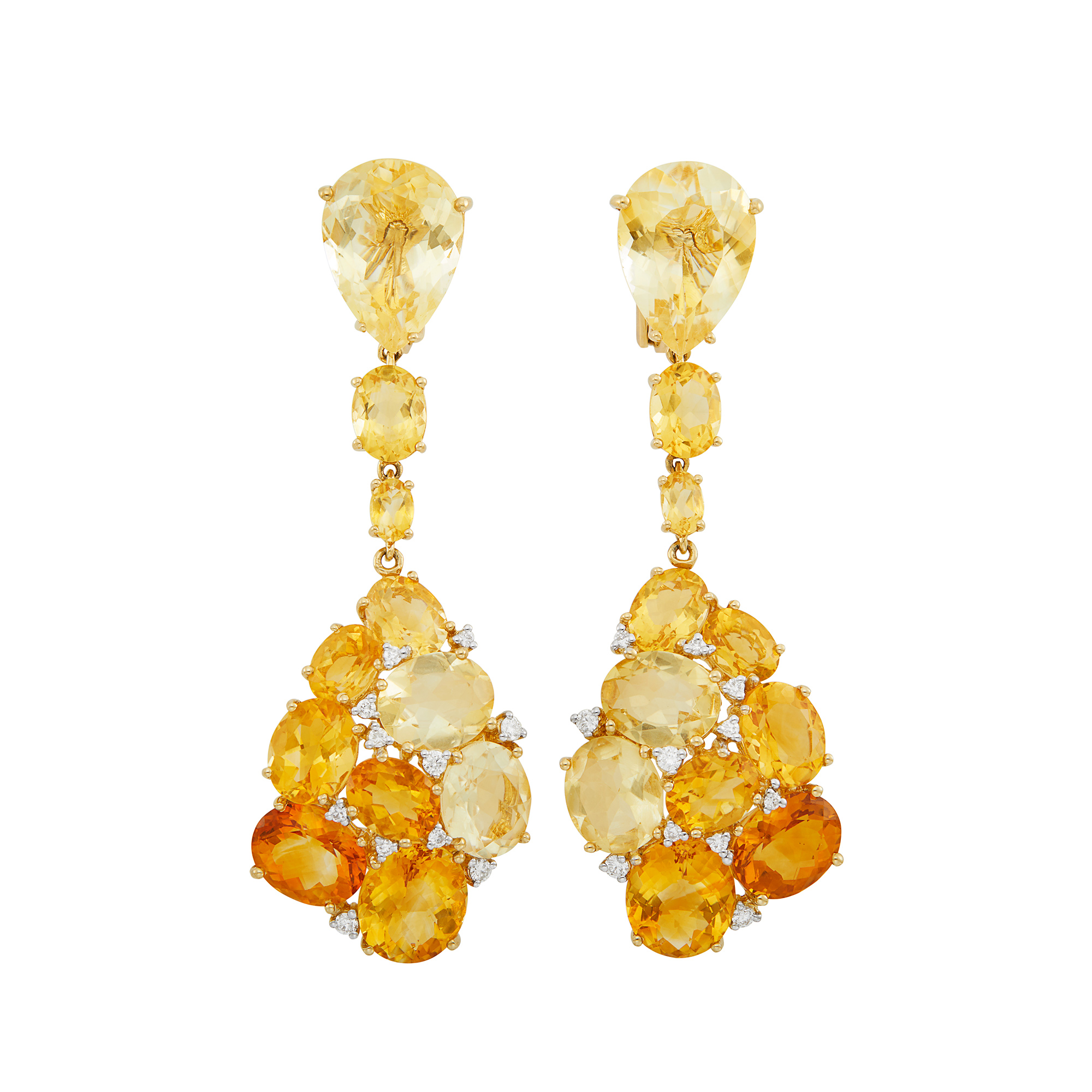 Lot image - Pair of Gold, Citrine and Diamond Pendant-Earclips
