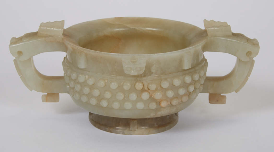 Lot image - Chinese Archaic-Form Jade Cup
