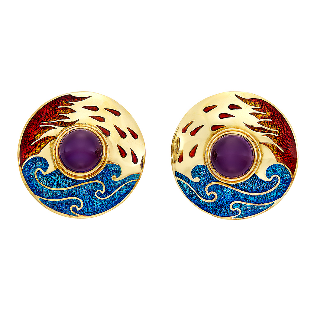 Lot image - Pair of Gold, Cabochon Amethyst and Enamel Earclips, Cellini