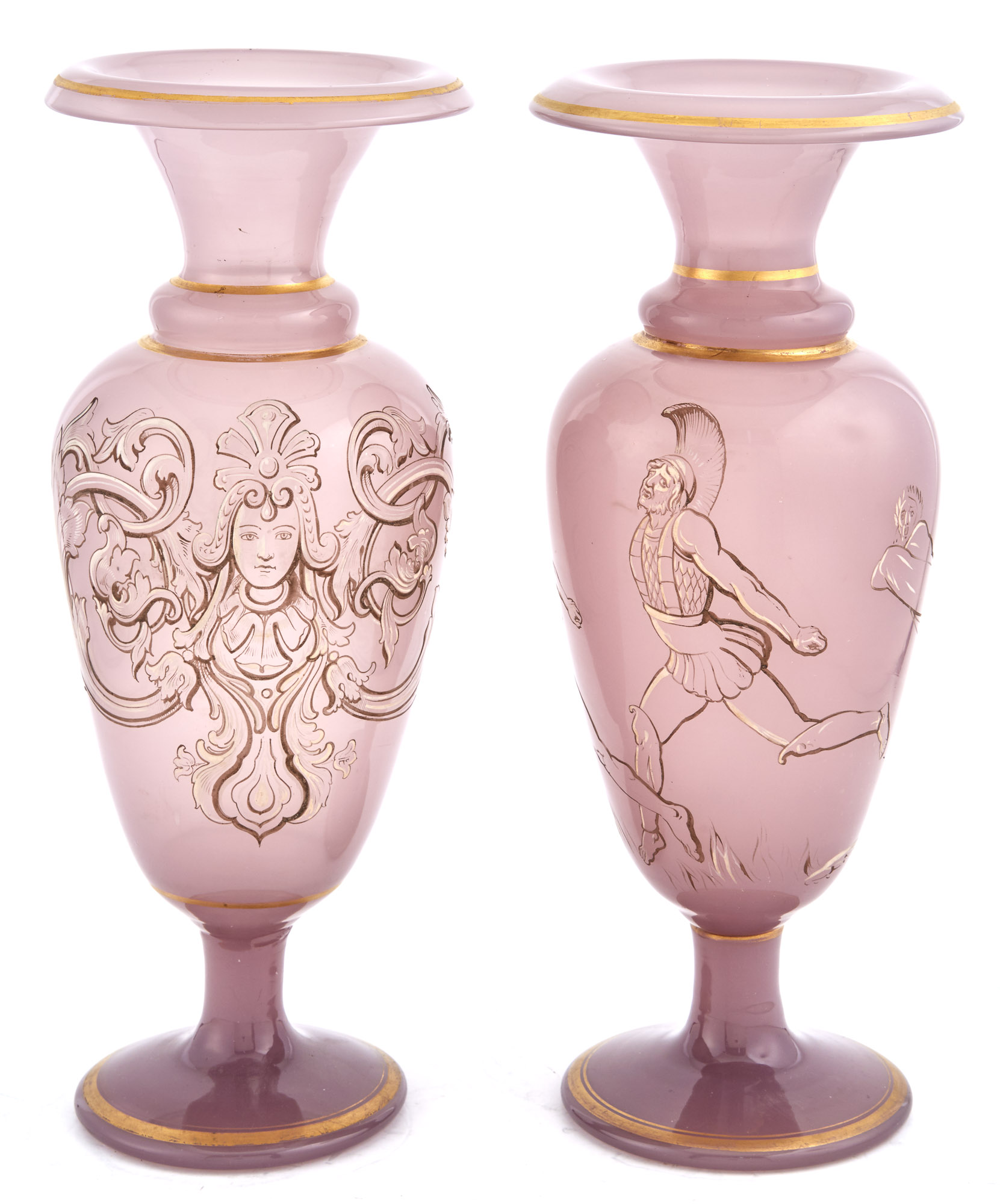 Lot image - Assembled Pair of French Violet Opaline Glass Vases