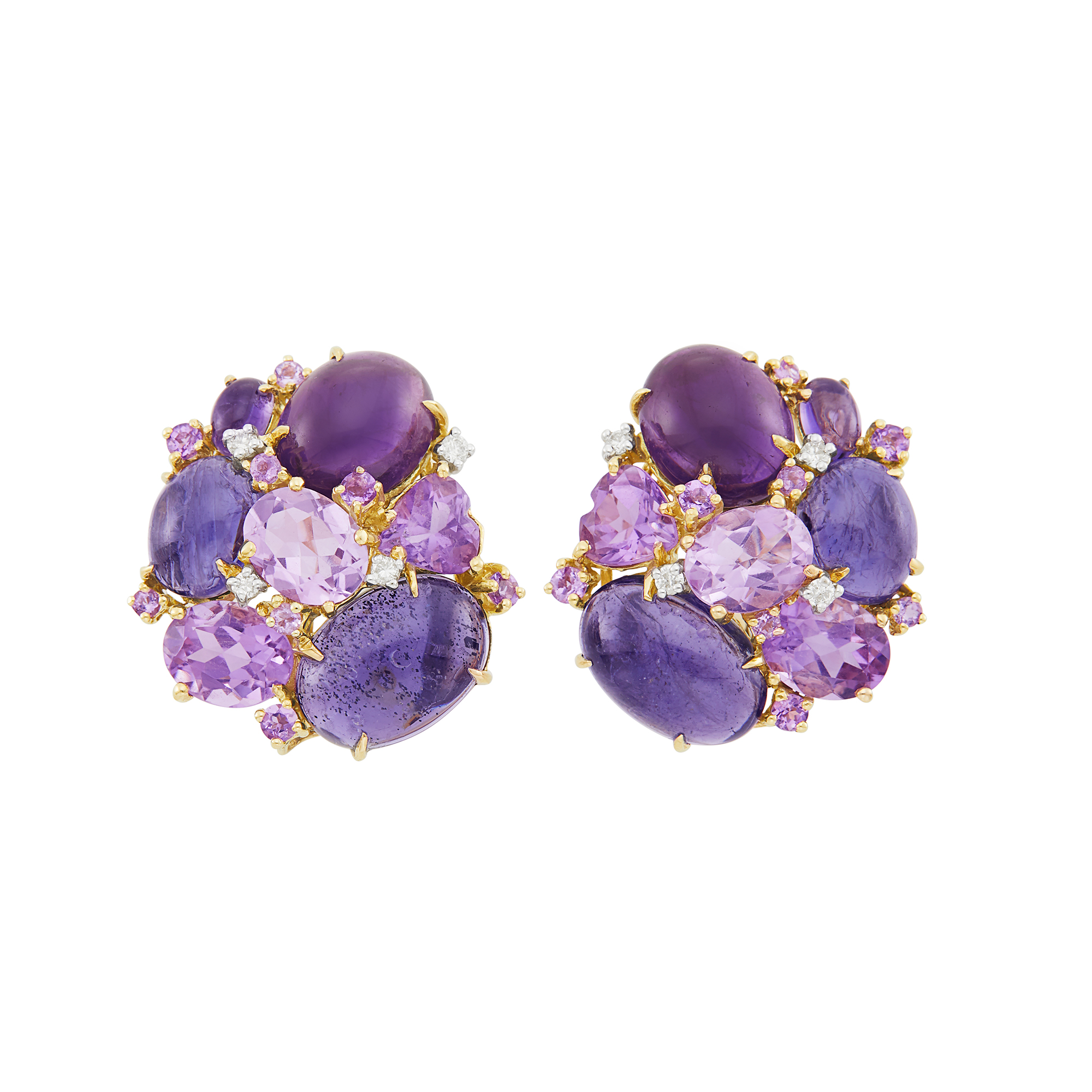 Lot image - Pair of Gold, Cabochon Amethyst, Iolite and Diamond Cluster Earclips