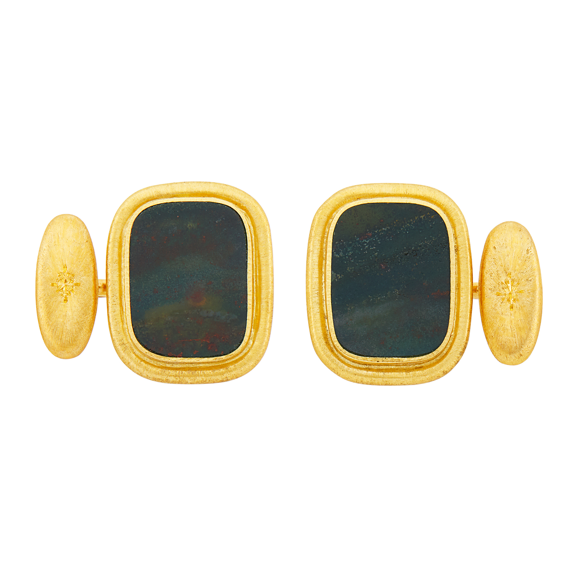 Lot image - Mario Buccellati Pair of Gold and Bloodstone Cufflinks