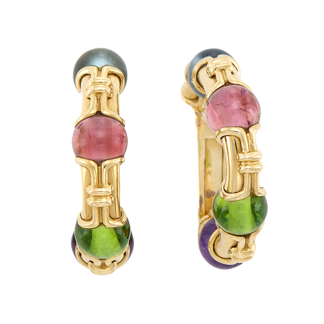 Lot image - Pair of Gold and Gem-Set Bead Hoop Earrings, Bulgari