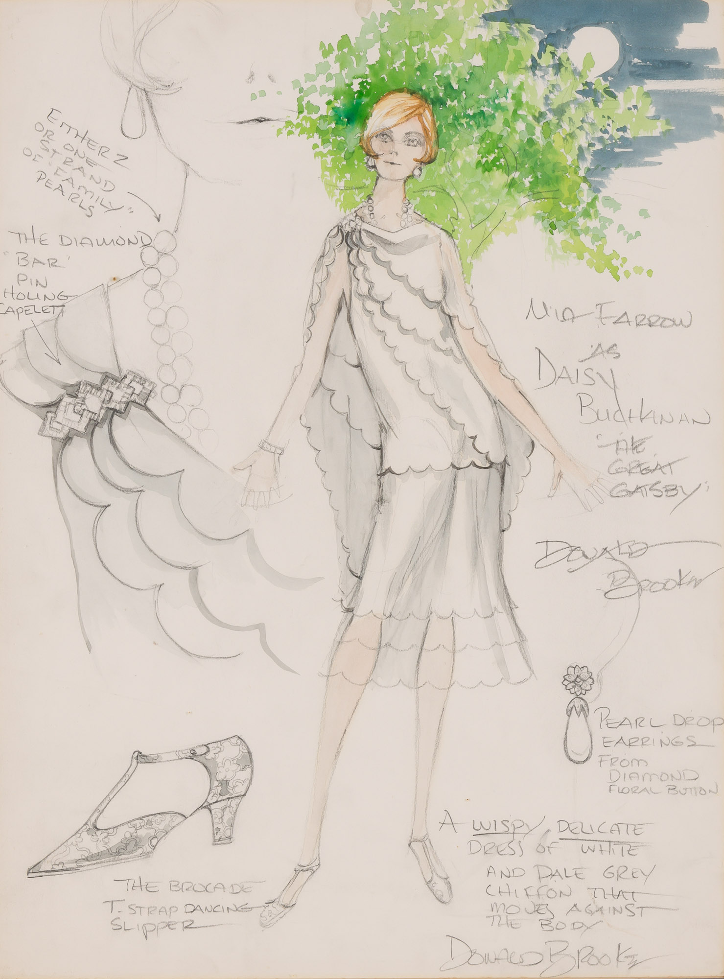 Lot image - BROOKS, DONALD  Two original fashion designs, including one for The Great Gatsby.