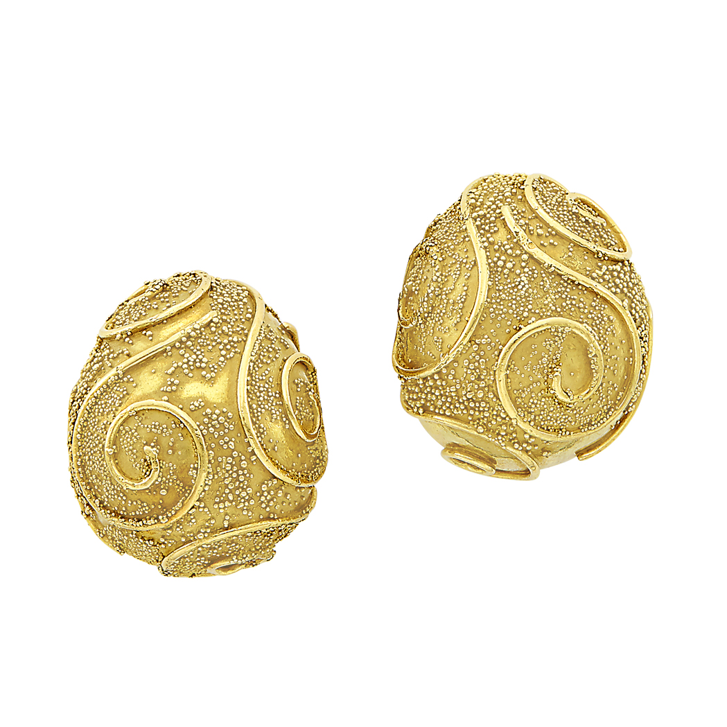 Lot image - Pair of Gold Earclips, Elizabeth Gage