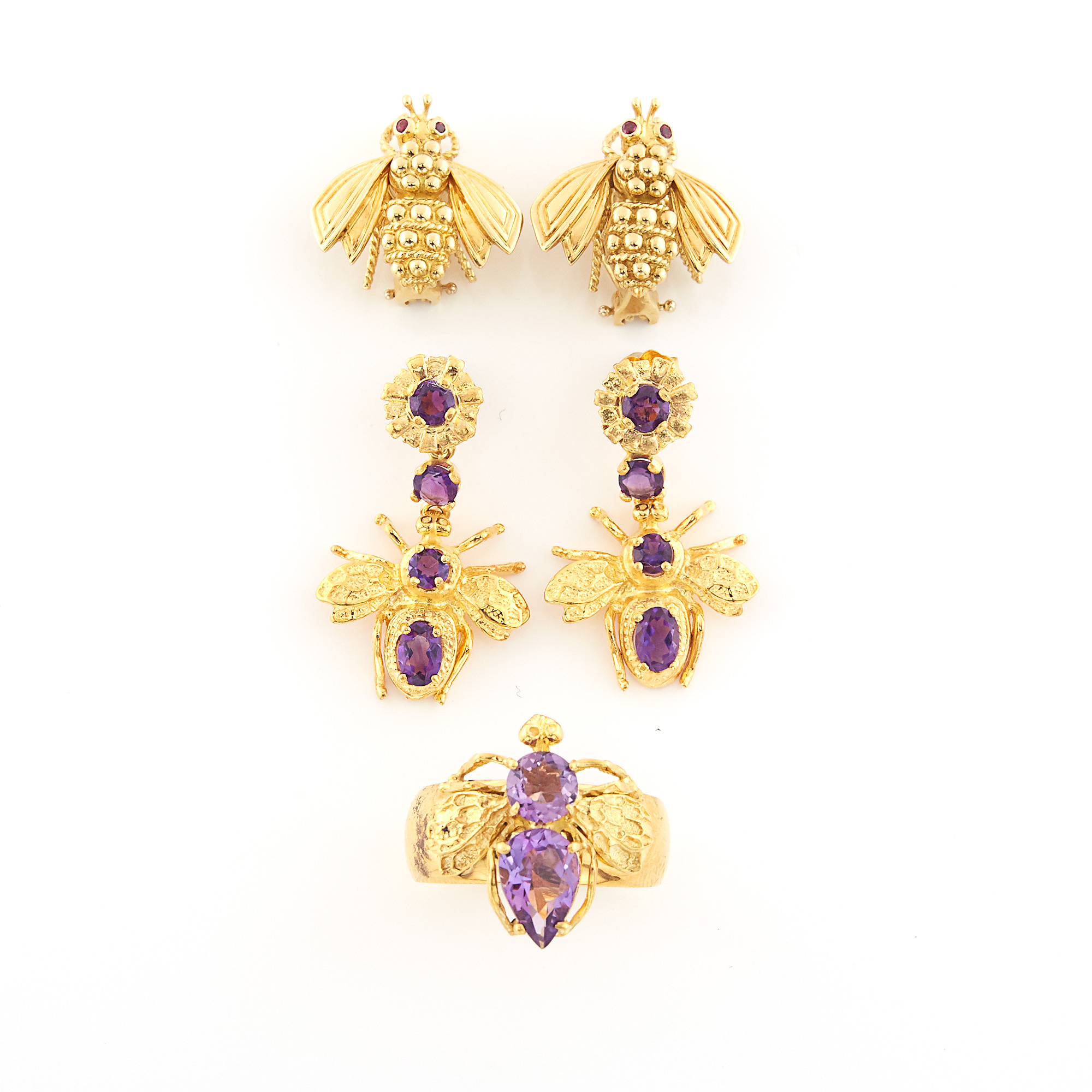 Lot image - Group of Gold and Amethyst Insect Jewelry