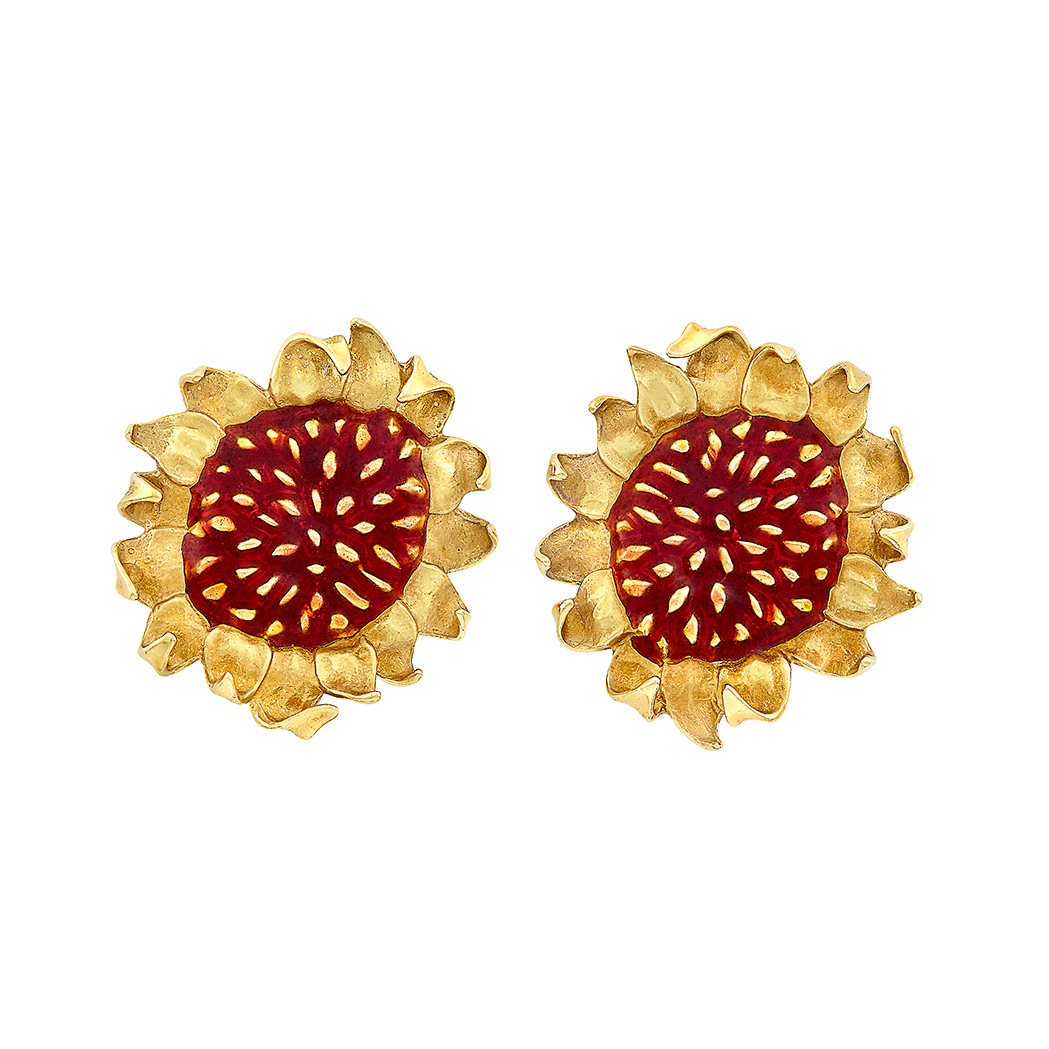 Lot image - Pair of Gold and Enamel Sunflower Earrings, Angela Cummings