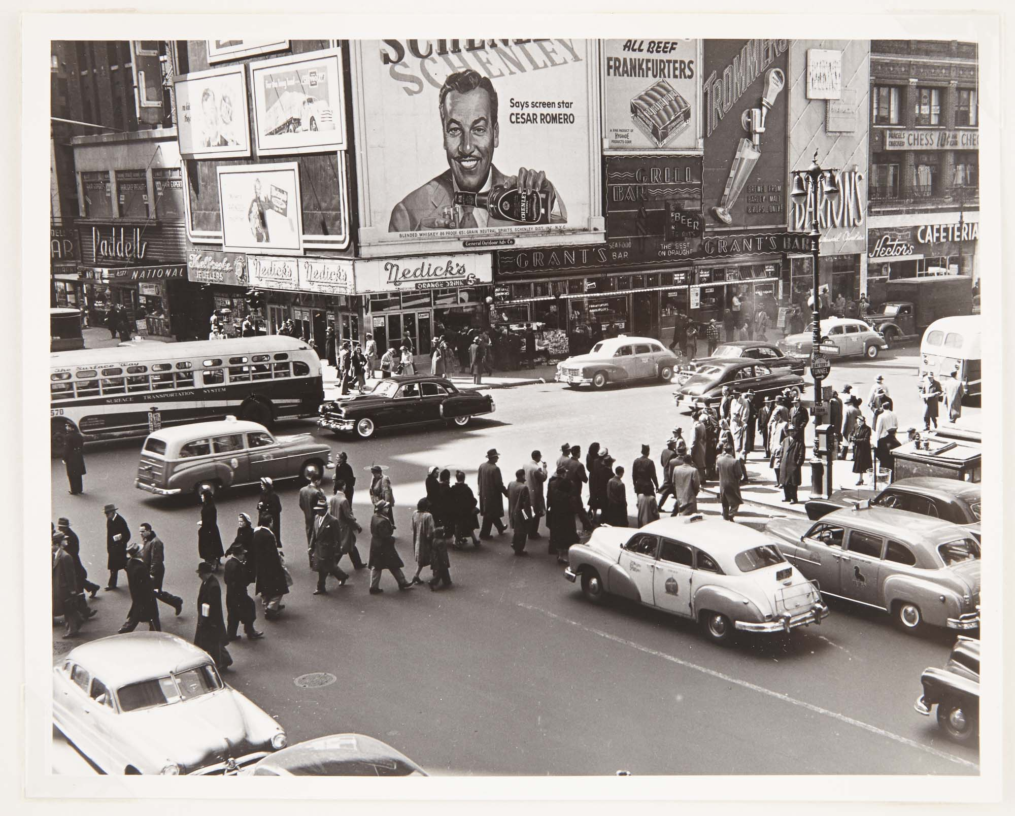 Lot image - NEWMAN, ARNOLD (1918-2006)  Times Square, Seventh Ave, view southwest at 42nd St.,