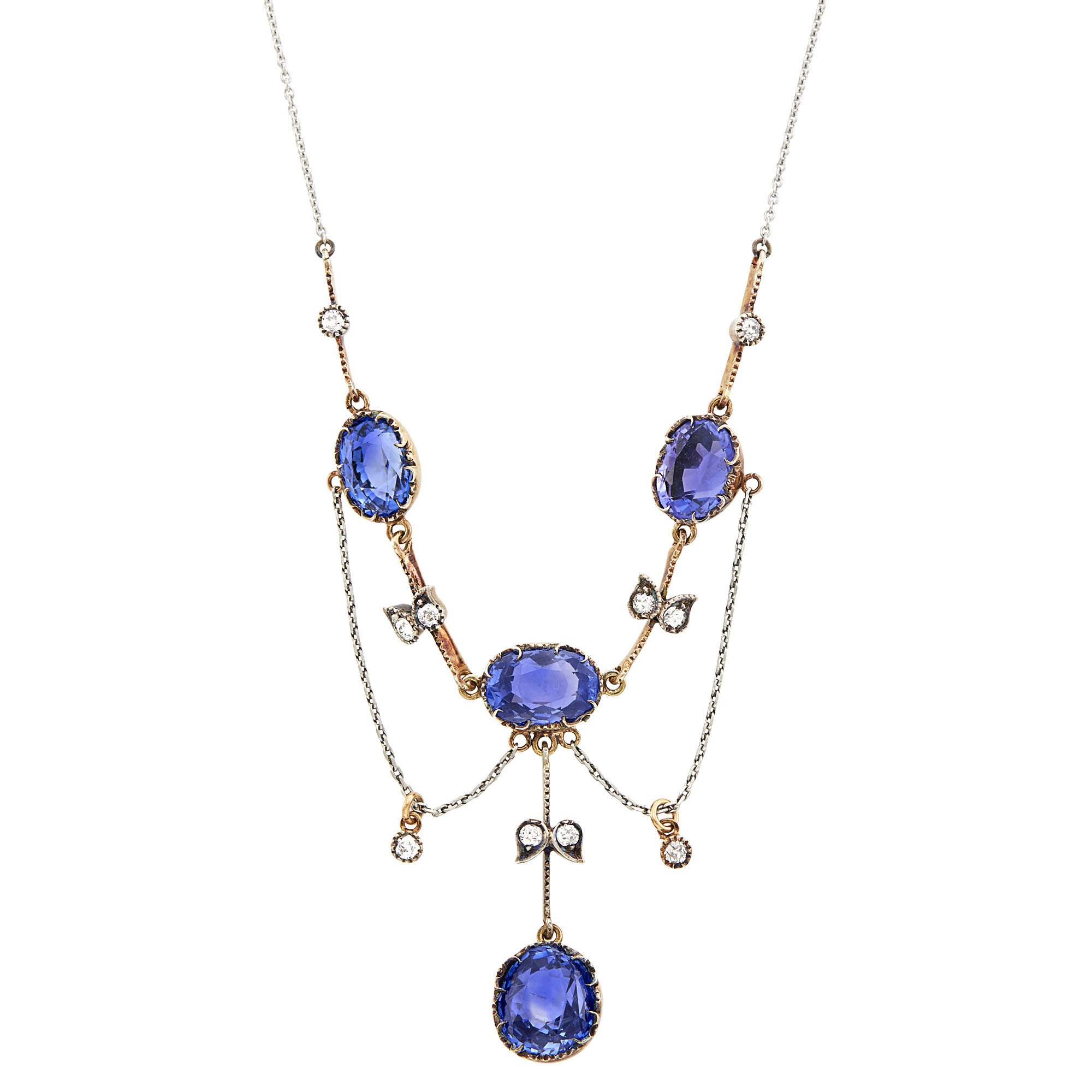 Lot image - Antique Rose Gold, Platinum, Sapphire and Diamond Swag Necklace