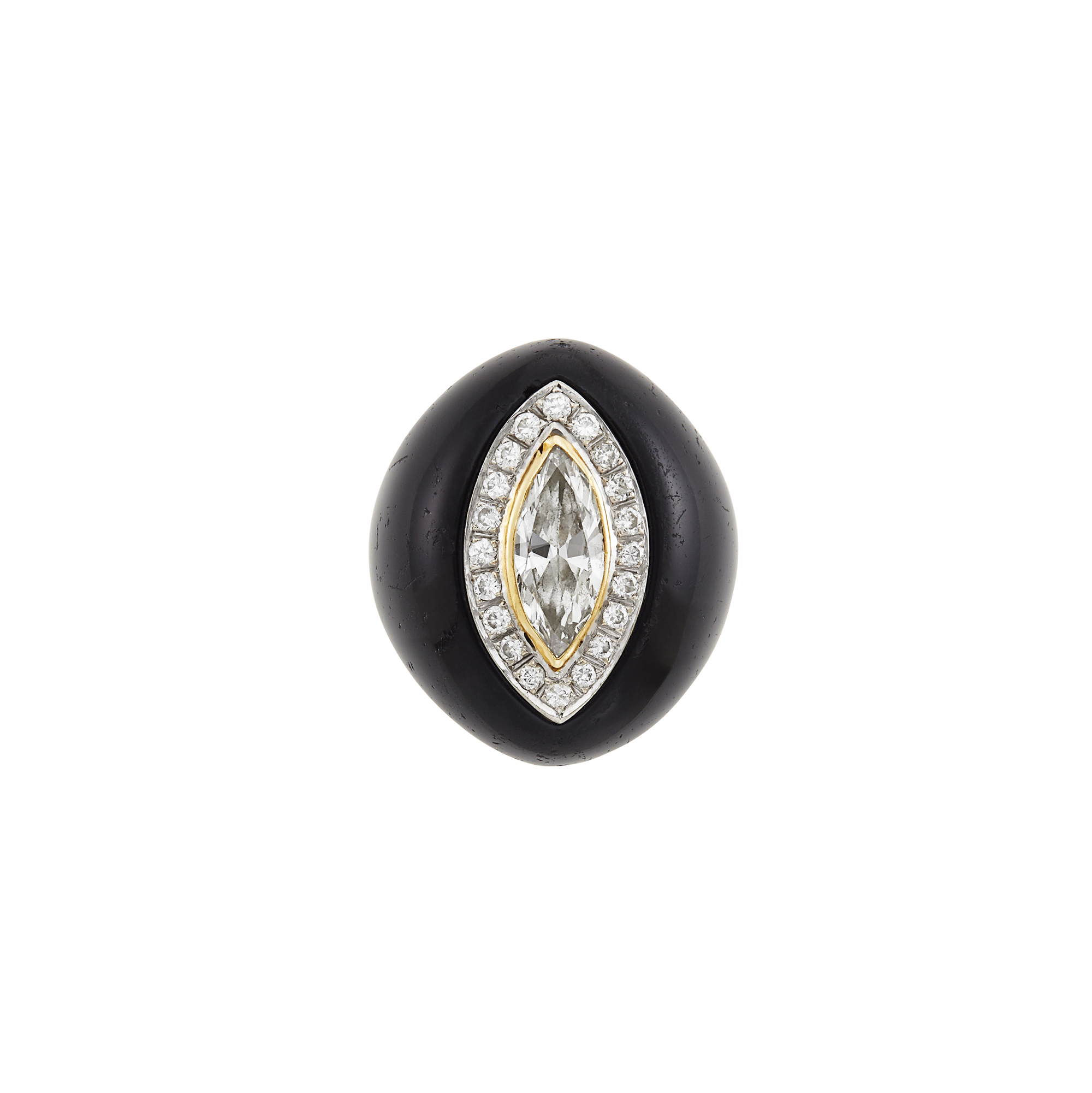 Lot image - Gold, Diamond and Black Onyx Dome Ring