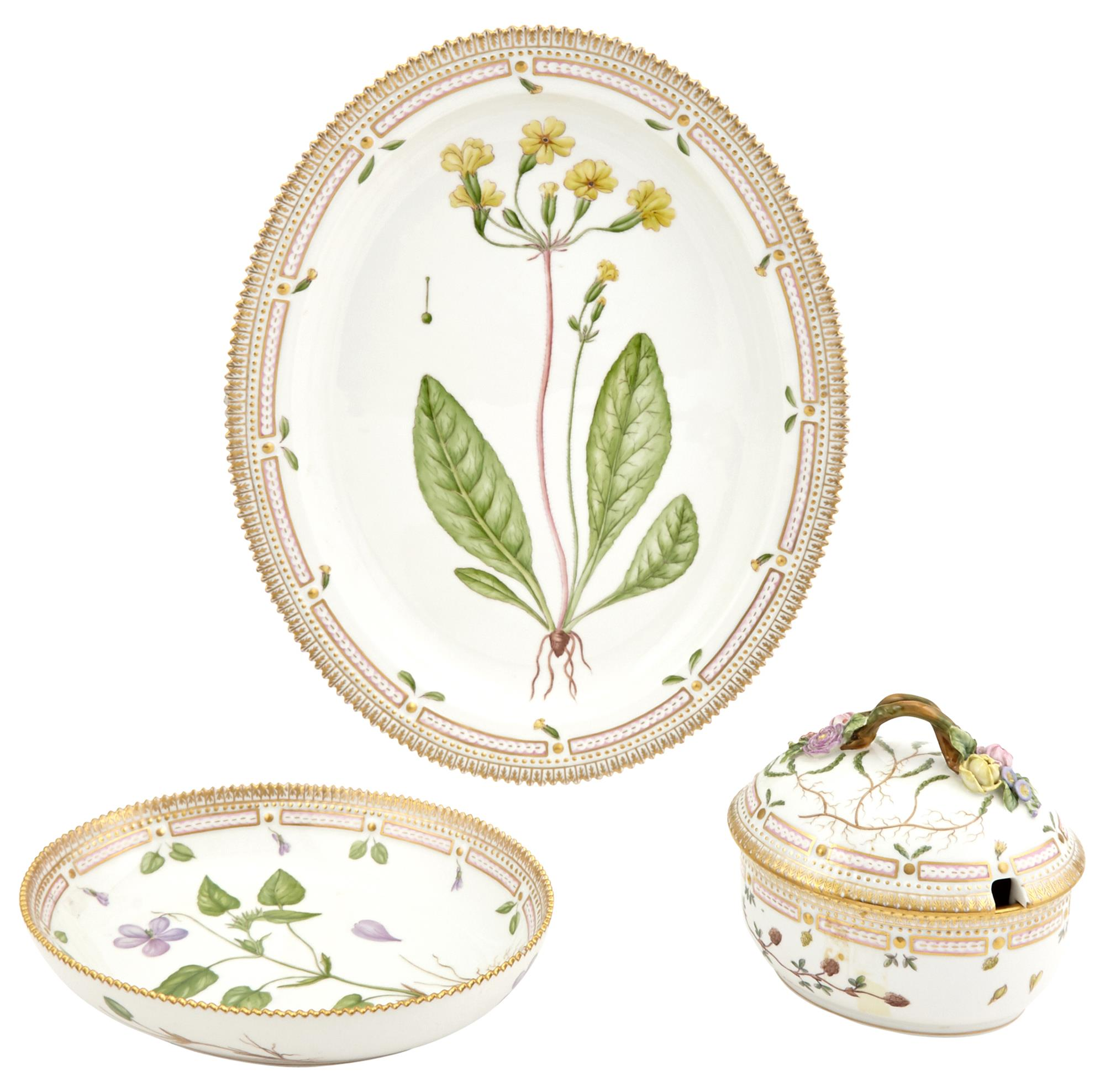 Lot image - Royal Copenhagen Flora Danica Porcelain Tureen and Cover, Serving Bowl and Platter