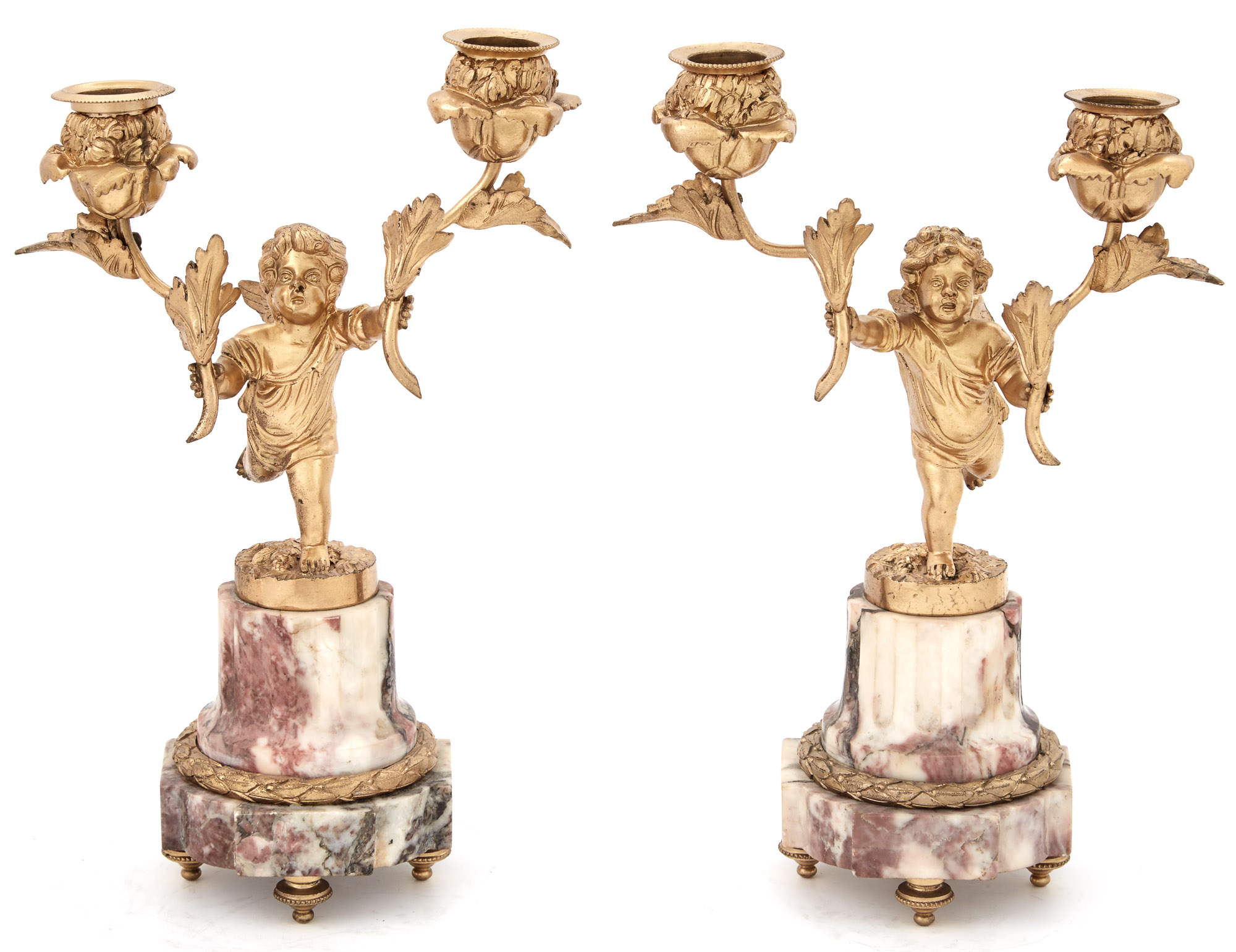 Lot image - Pair of Louis XVI Style Gilt-Bronze and Marble Figural Two-Light Candelabra