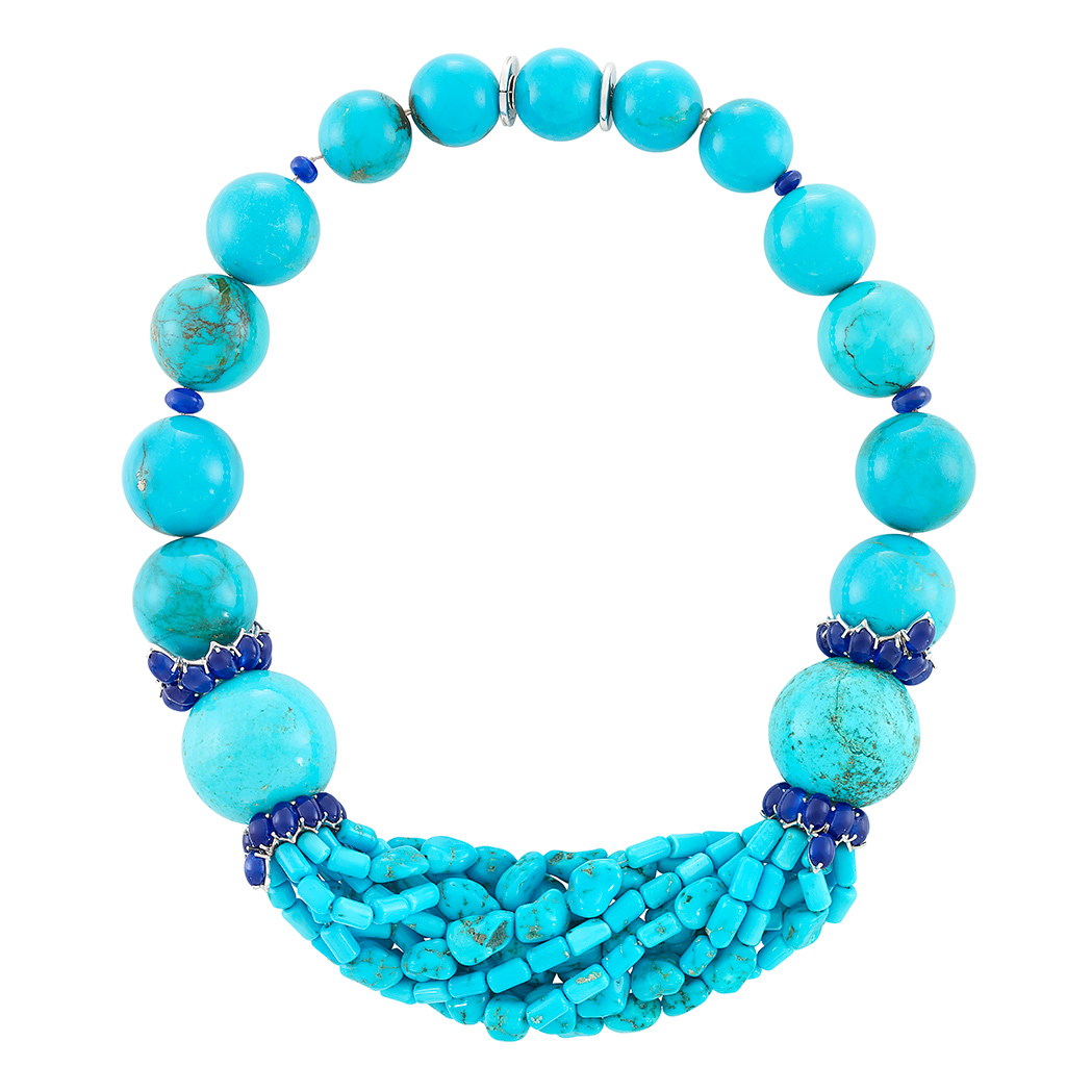 Lot image - Turquoise Bead, White Gold and Cabochon Sapphire Necklace, Sabbadini