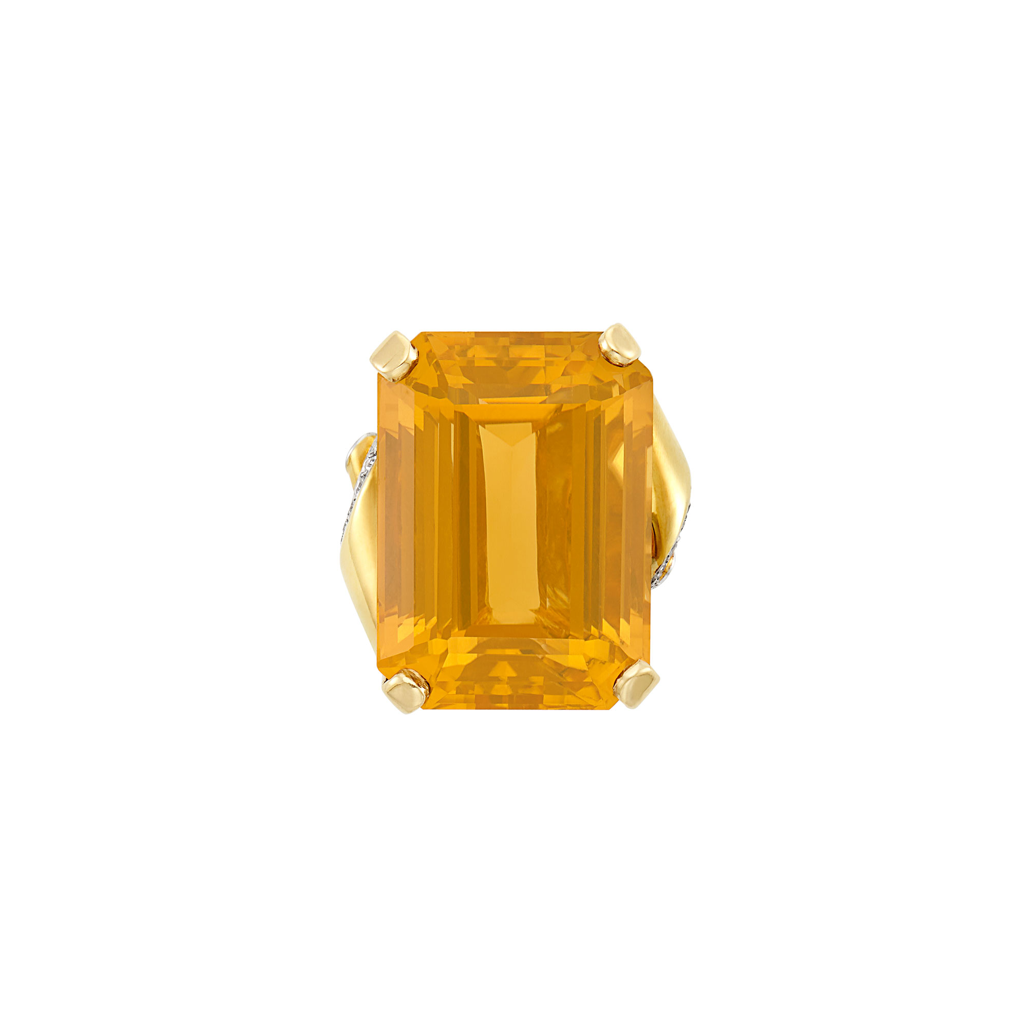 Lot image - Gold, Citrine and Diamond Ring