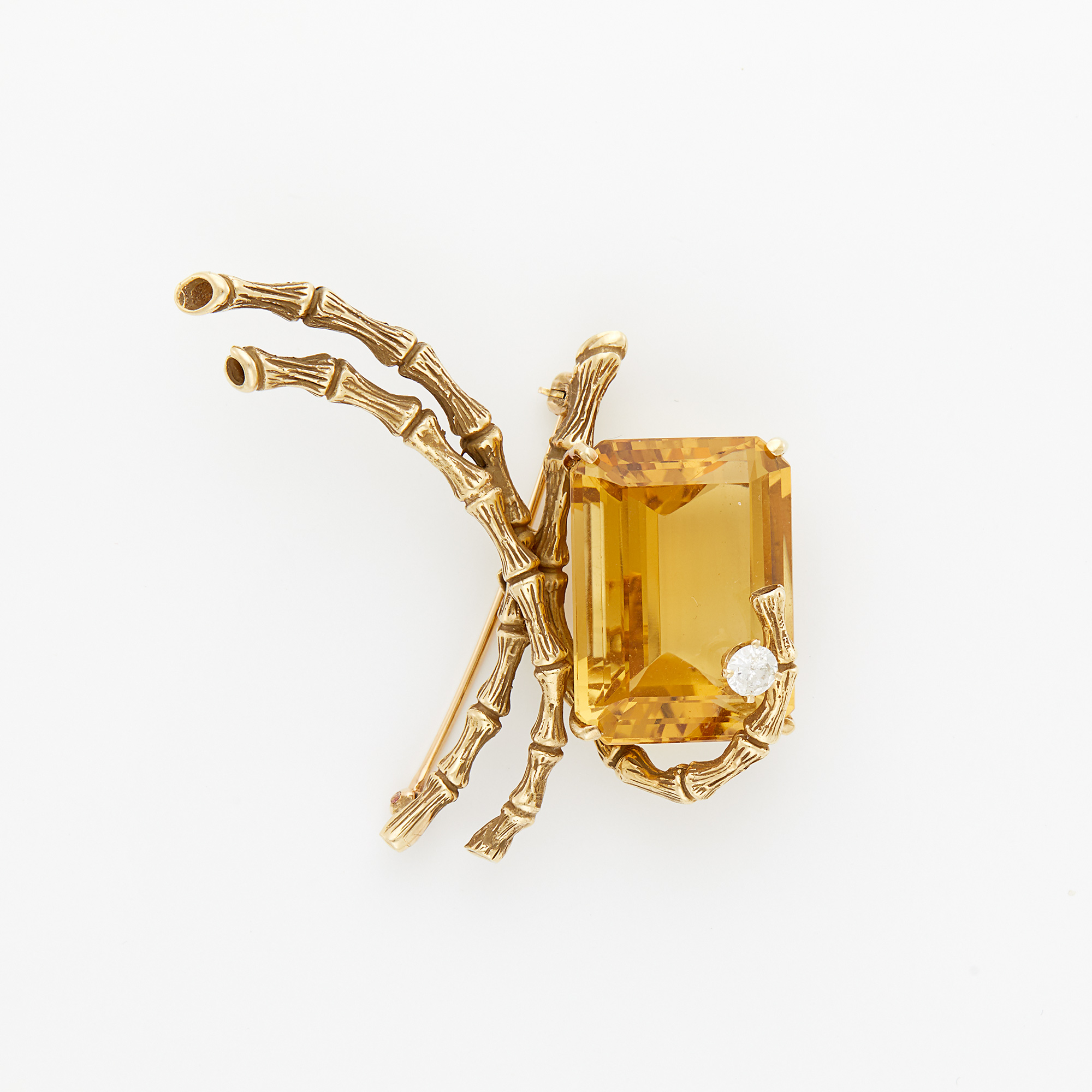 Lot image - Gold, Citrine and Diamond Brooch, Erwin Pearl