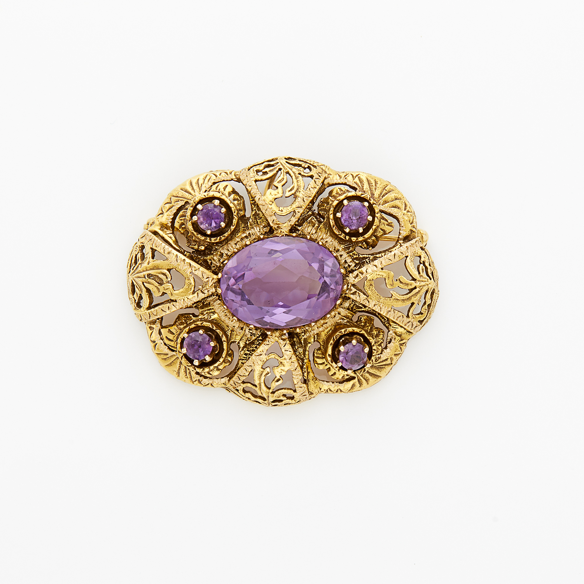 Lot image - Gold and Amethyst Pendant-Brooch