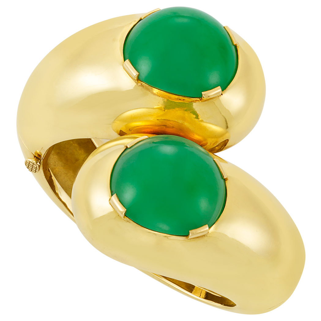 Lot image - Gold and Jade Crossover Cuff Bangle Bracelet