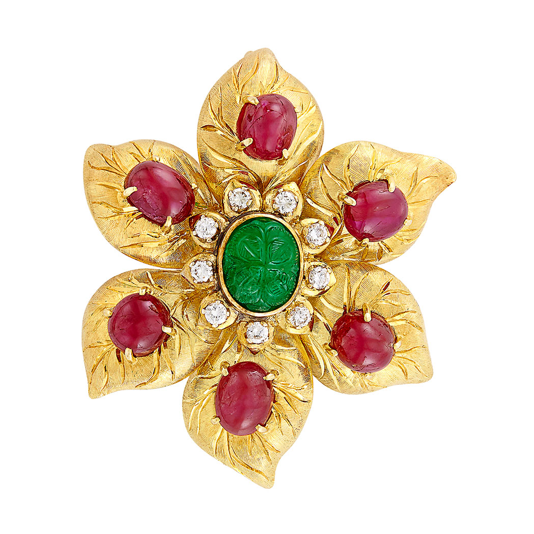 Lot image - Gold, Carved Emerald, Cabochon Ruby and Diamond Flower Pendant-Brooch, Trio