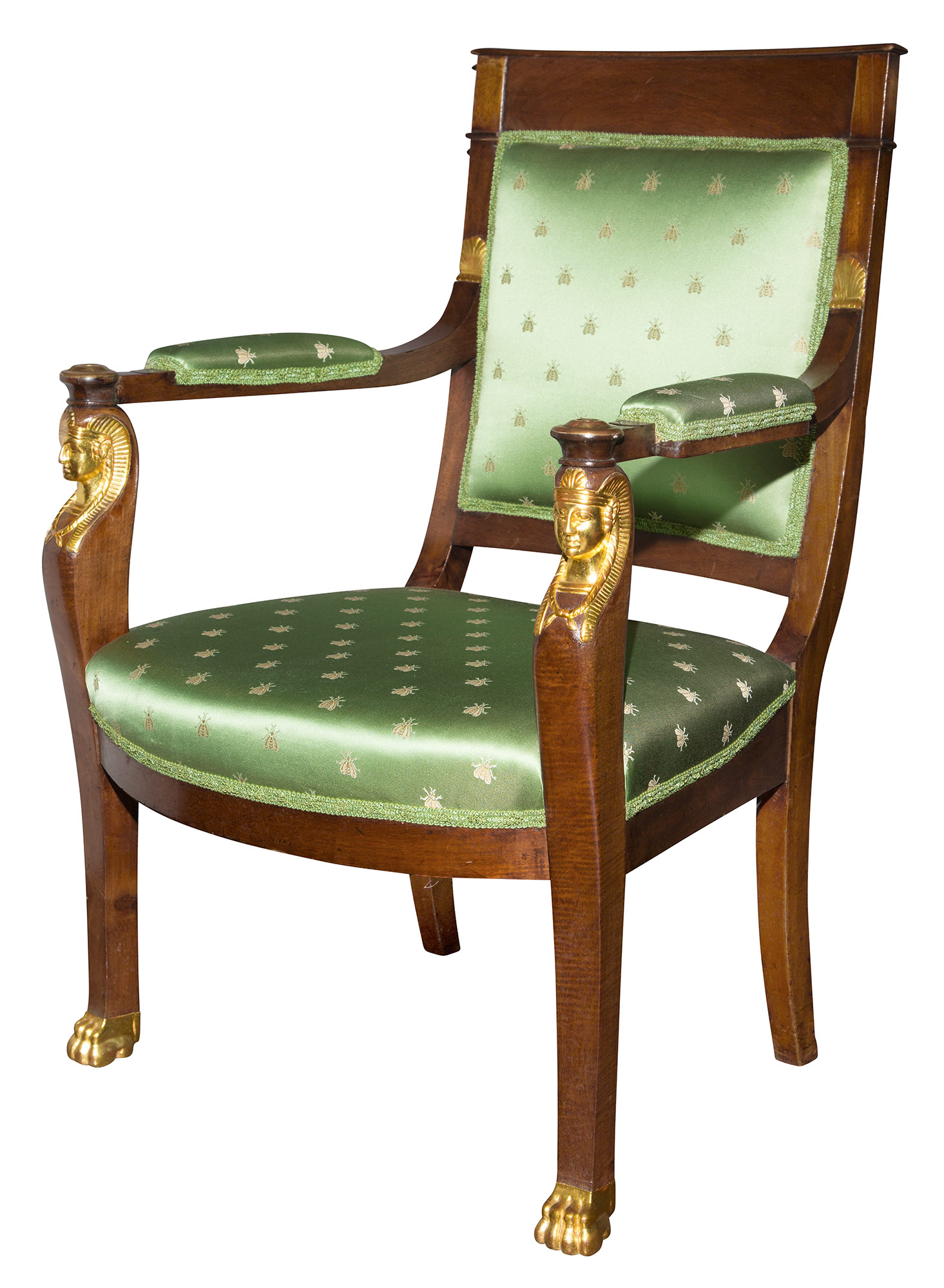 Lot image - Empire Mahogany and Parcel Gilt Fauteuil à la Reine