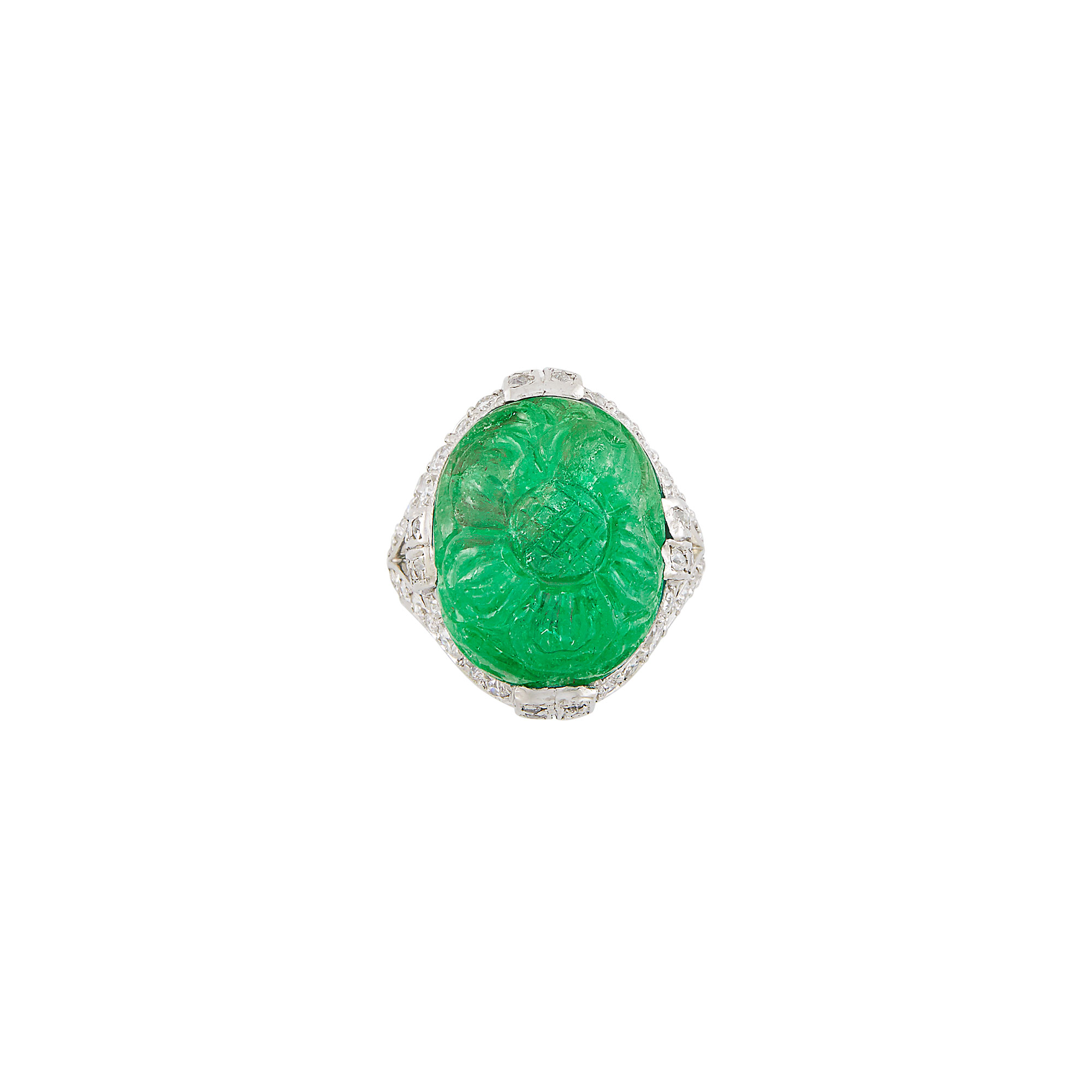 Lot image - Platinum, Carved Emerald and Diamond Ring, Dreicer