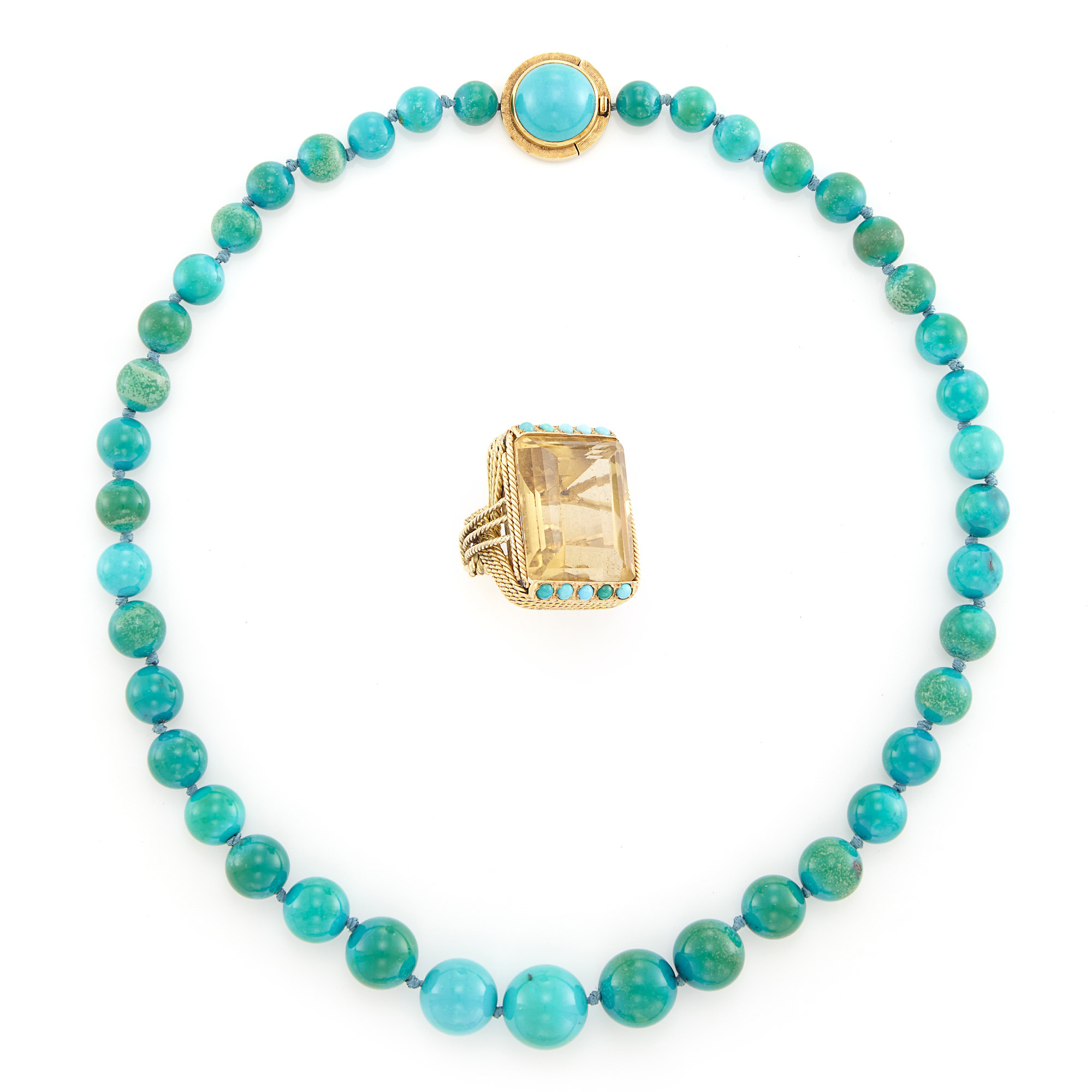 Lot image - Turquoise Bead Necklace and Gold, Citrine and Turquoise Ring