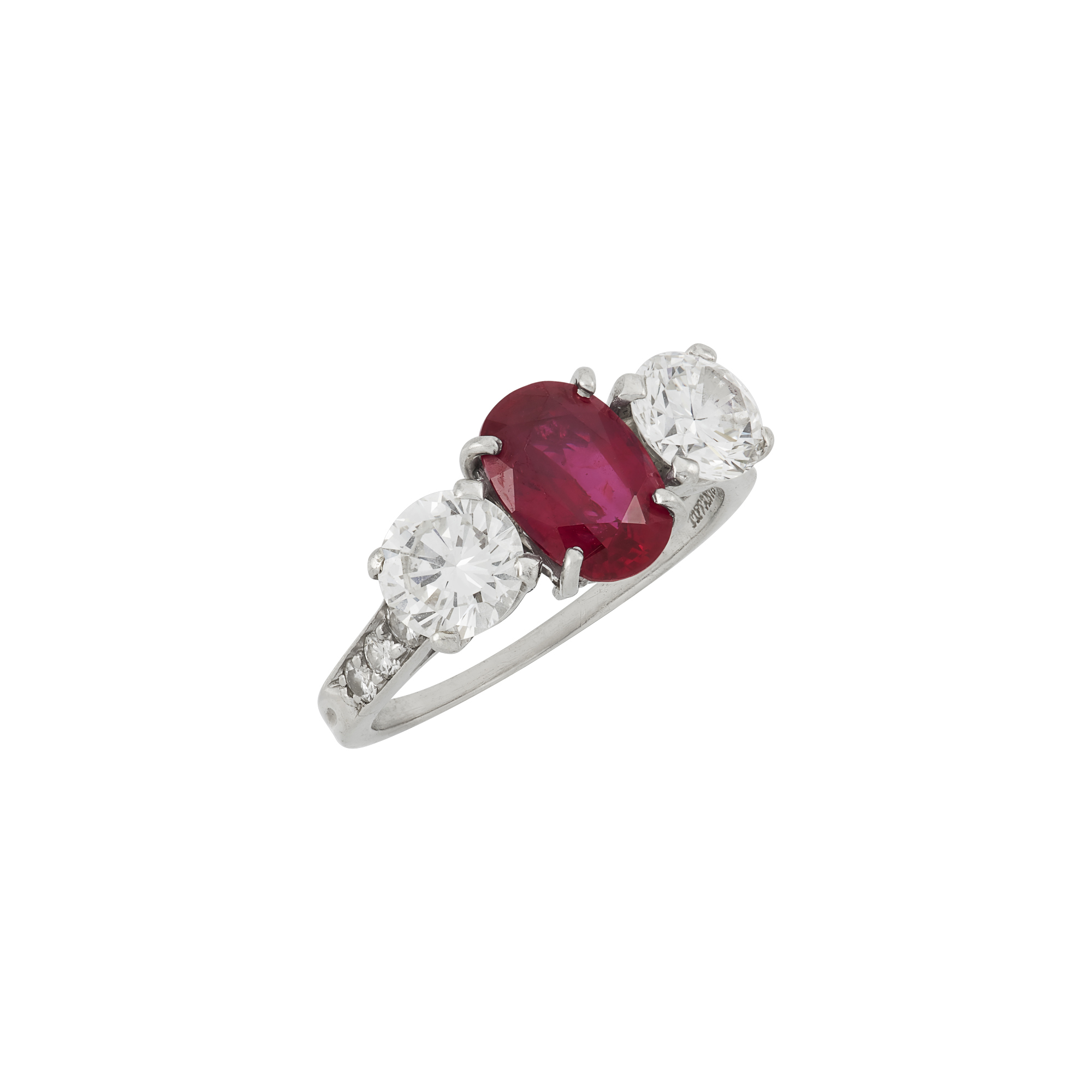 Lot image - Platinum, Ruby and Diamond Ring, Tiffany & Co.