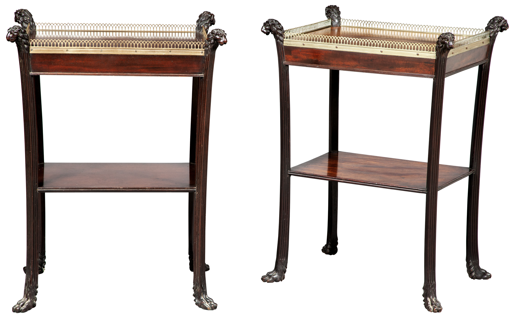 Lot image - Regency Mahogany and Brass-Mounted Two-Tier Table