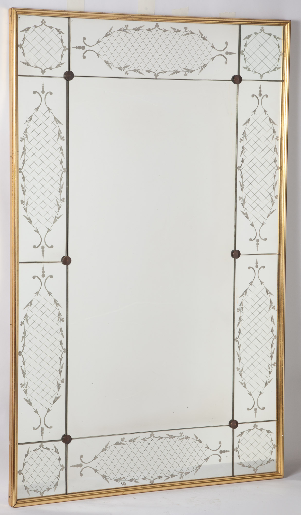 Giltwood And Etched Glass Mirror Framed Mirror Doyle Auction House