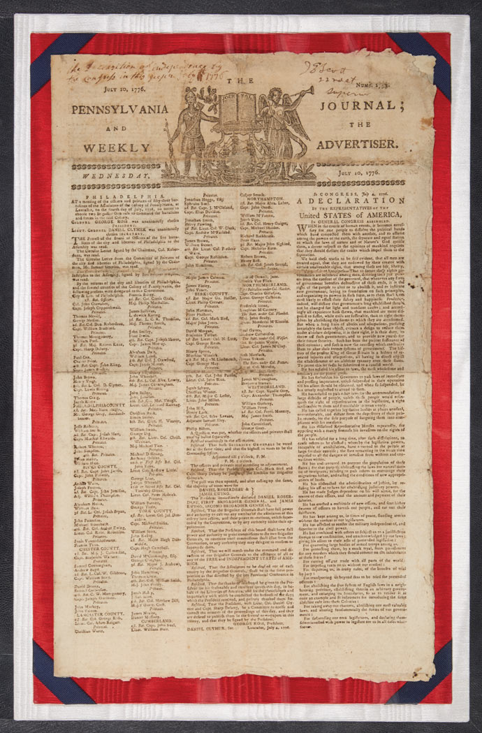 Lot image - [DECLARATION OF INDEPENDENCE - EARLY NEWSPAPER PRINTING]  The Pennsylvania Journal; and the Weekly Advertiser.