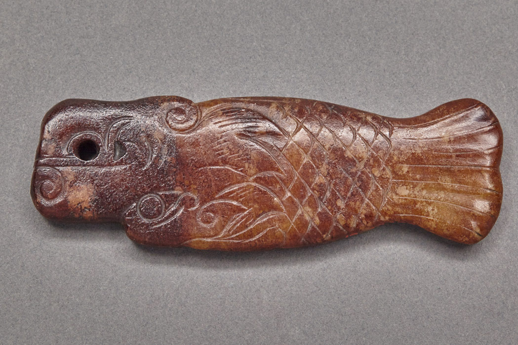 Lot image - Chinese Archaic Style Jade Dragon Fish