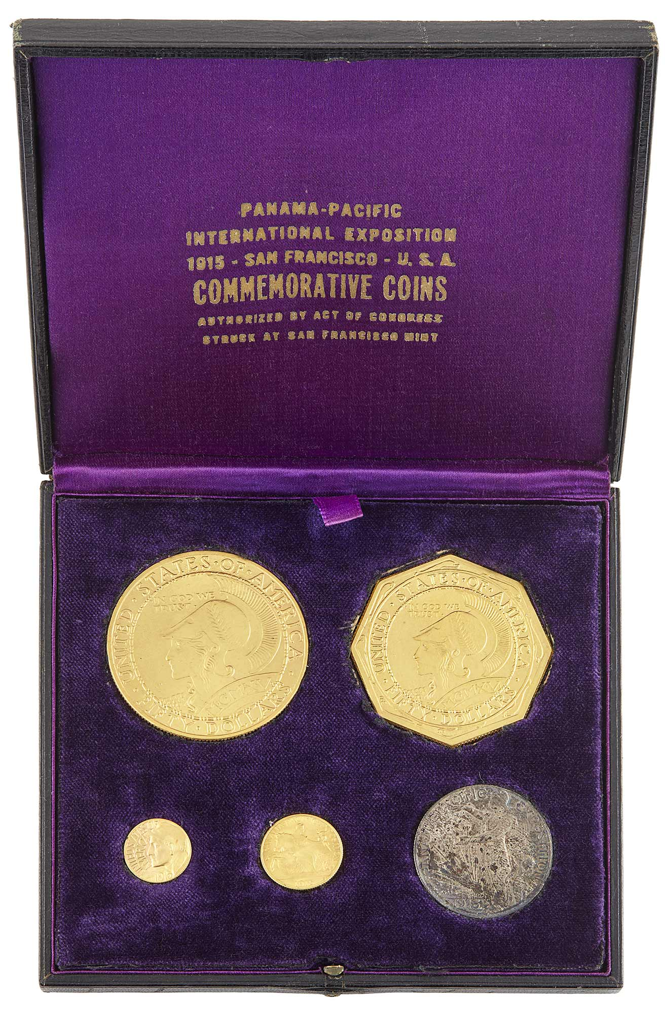 Lot image - United States 1915-S Panama-Pacific Five Piece Set in Presentation Case, NGC and CAC