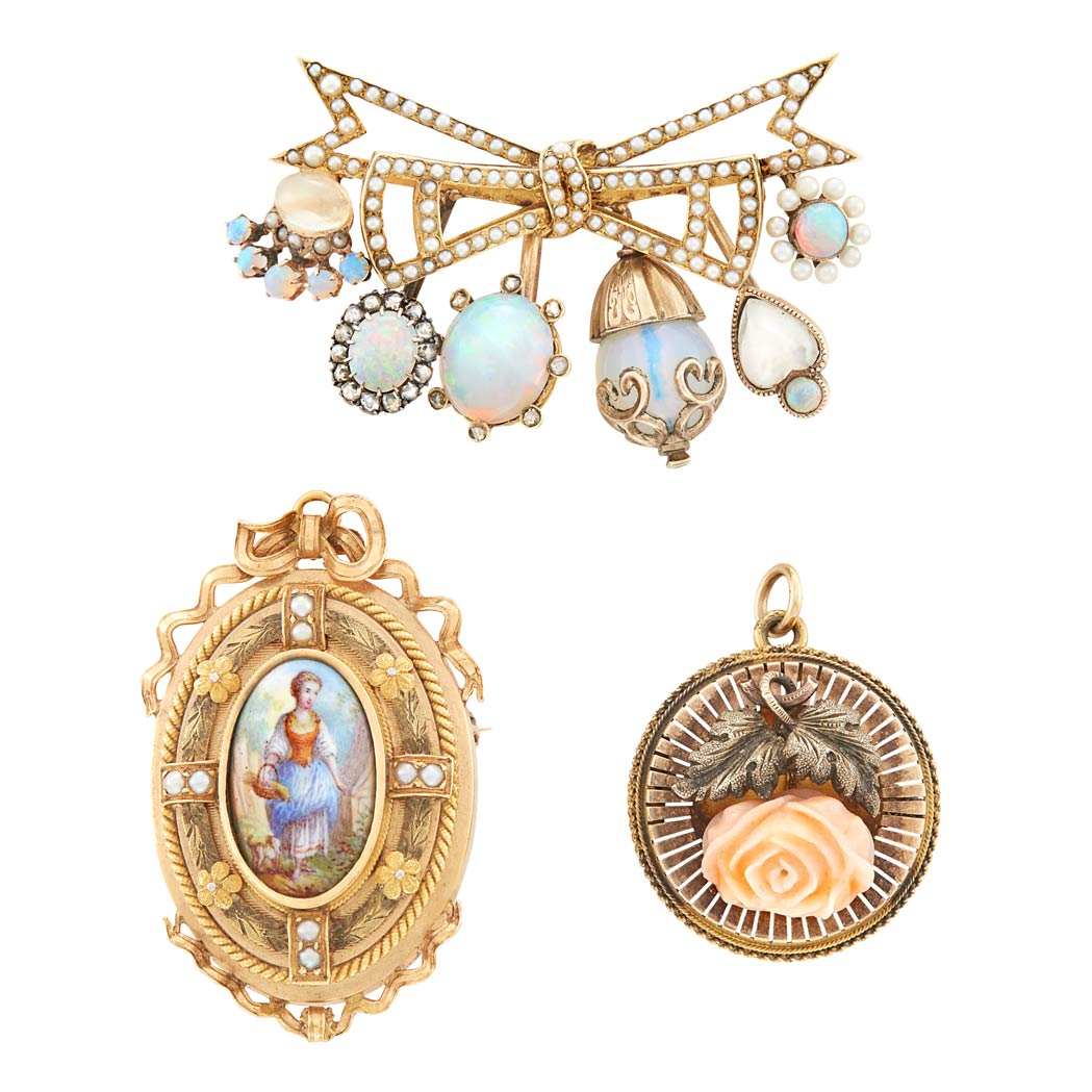 Lot image - Three Antique Gold, Silver, Opal, Moonstone, Diamond, Carved Coral, Seed Pearl and Portrait Miniature Brooches