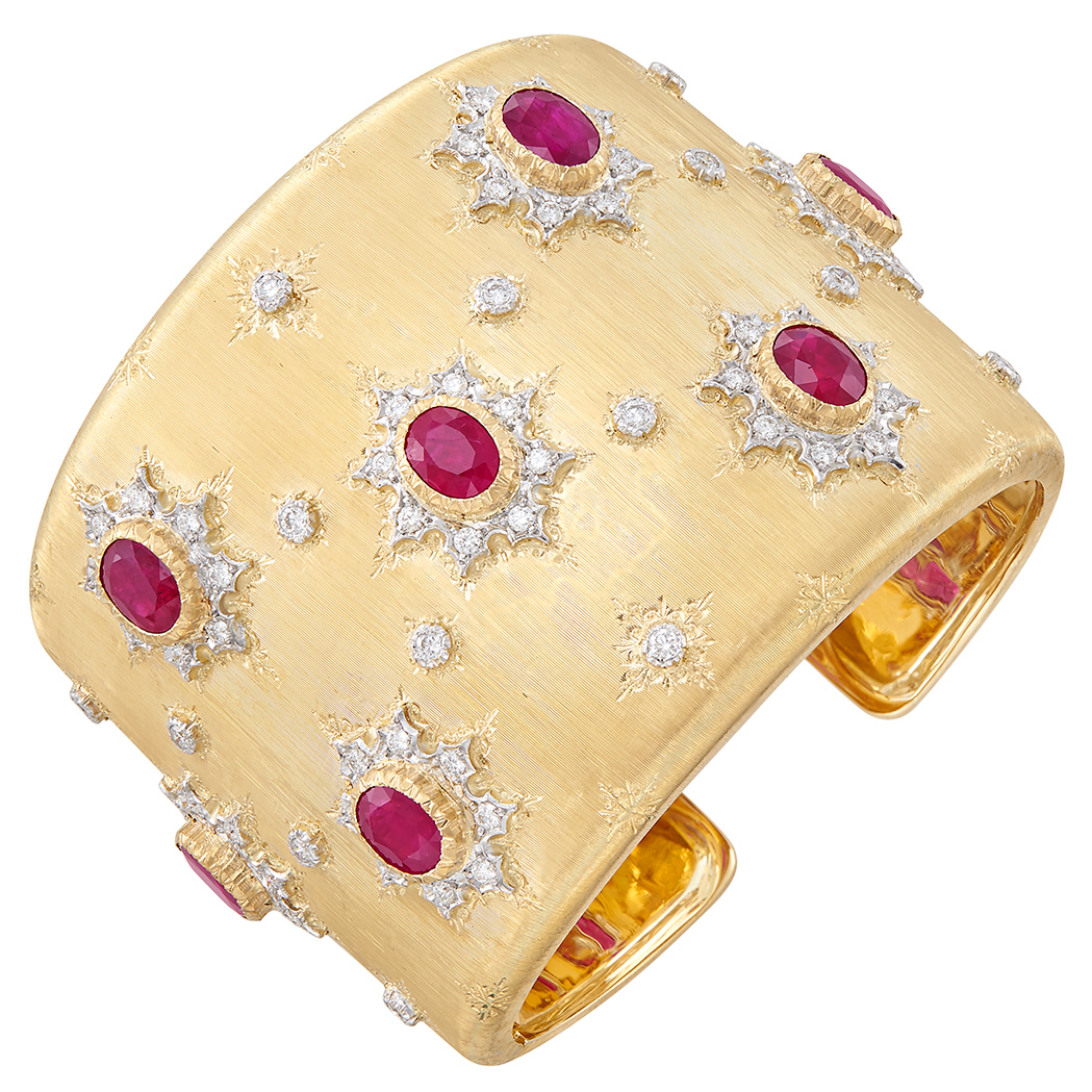 Lot image - Two-Color Gold, Ruby and Diamond Cuff Bangle Bracelet