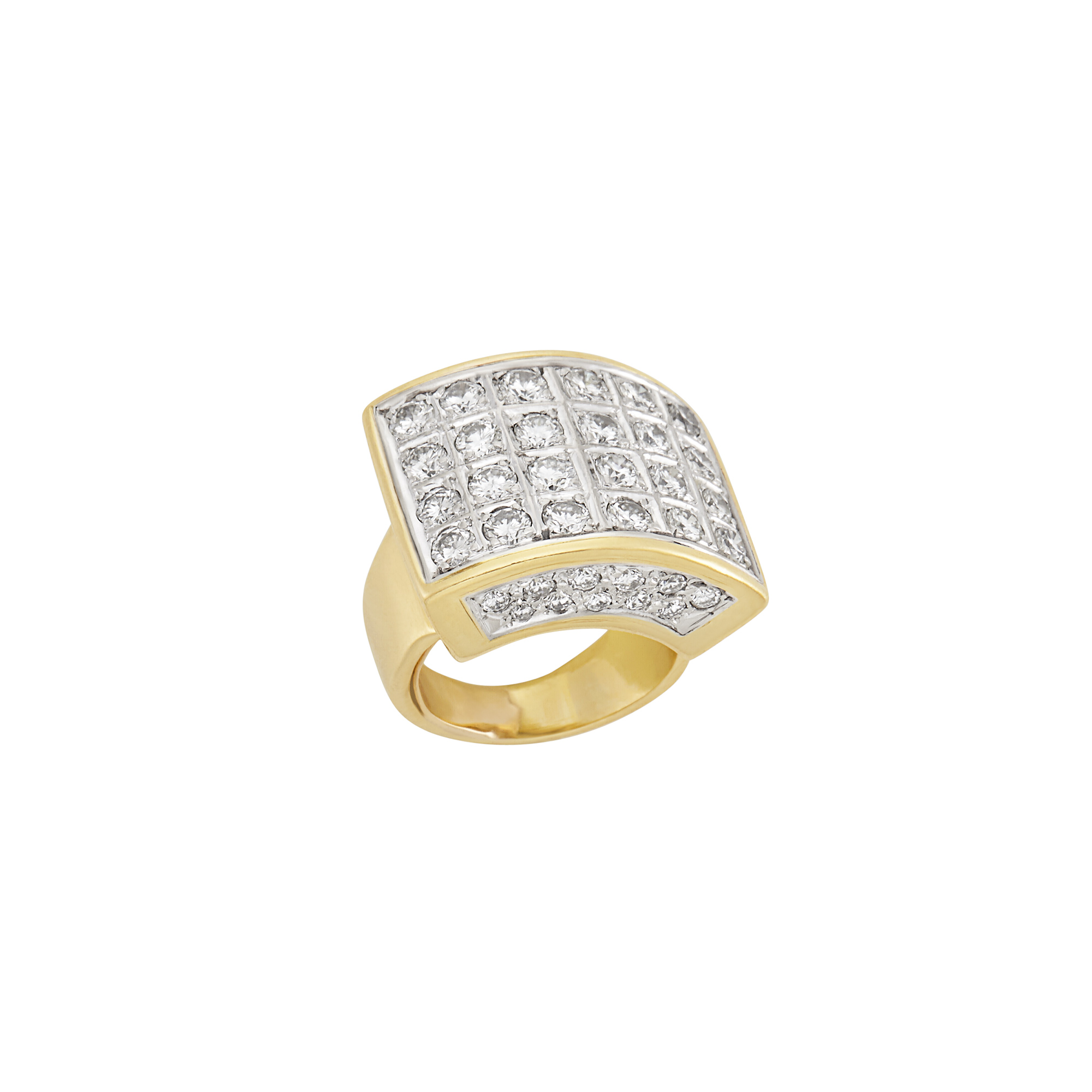 Lot image - Two-Color Gold and Diamond Ring