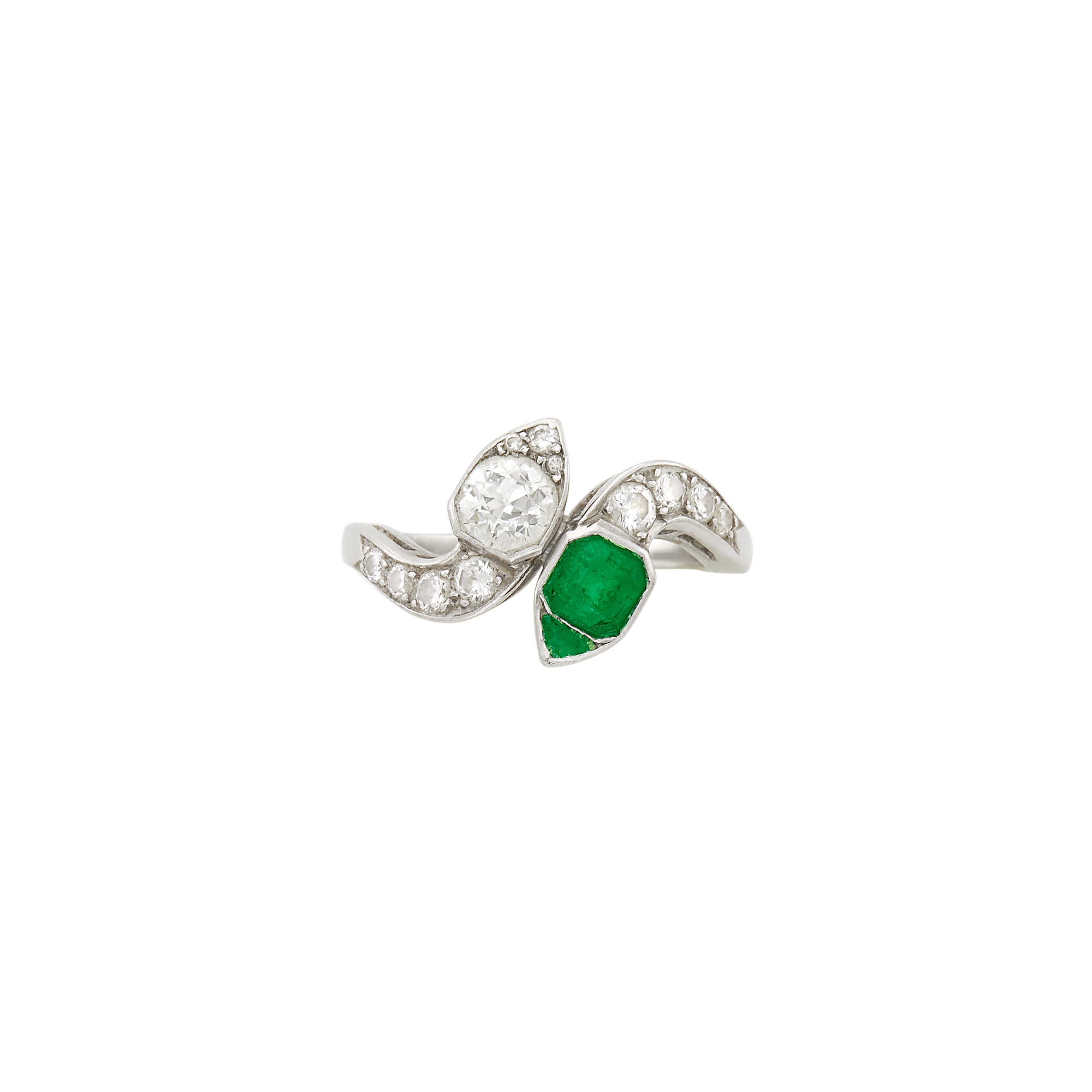 Lot image - Platinum, Emerald and Diamond Serpent Ring