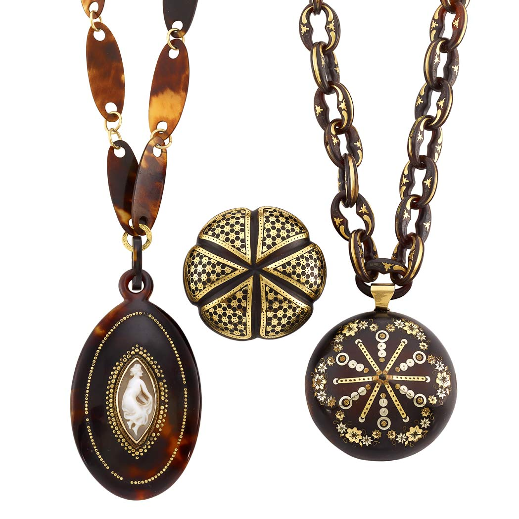 Lot image - Group of Antique Mixed Metal and Pique Tortoise Shell Brooch and Two Pendant-Necklaces