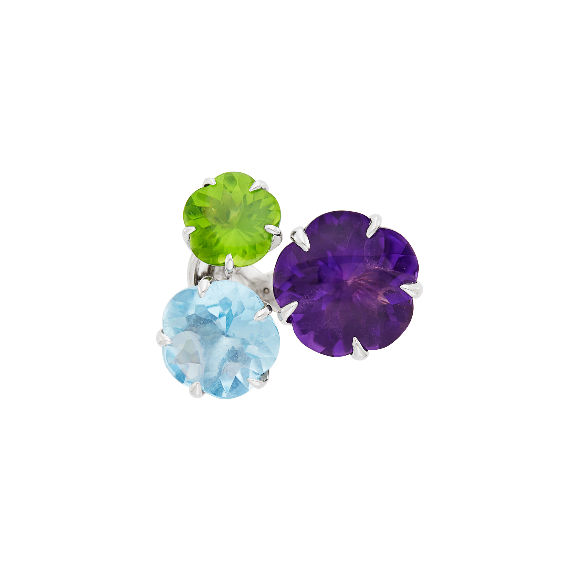 Lot image - Chanel White Gold, Amethyst, Aquamarine, Peridot and Diamond Flower Ring