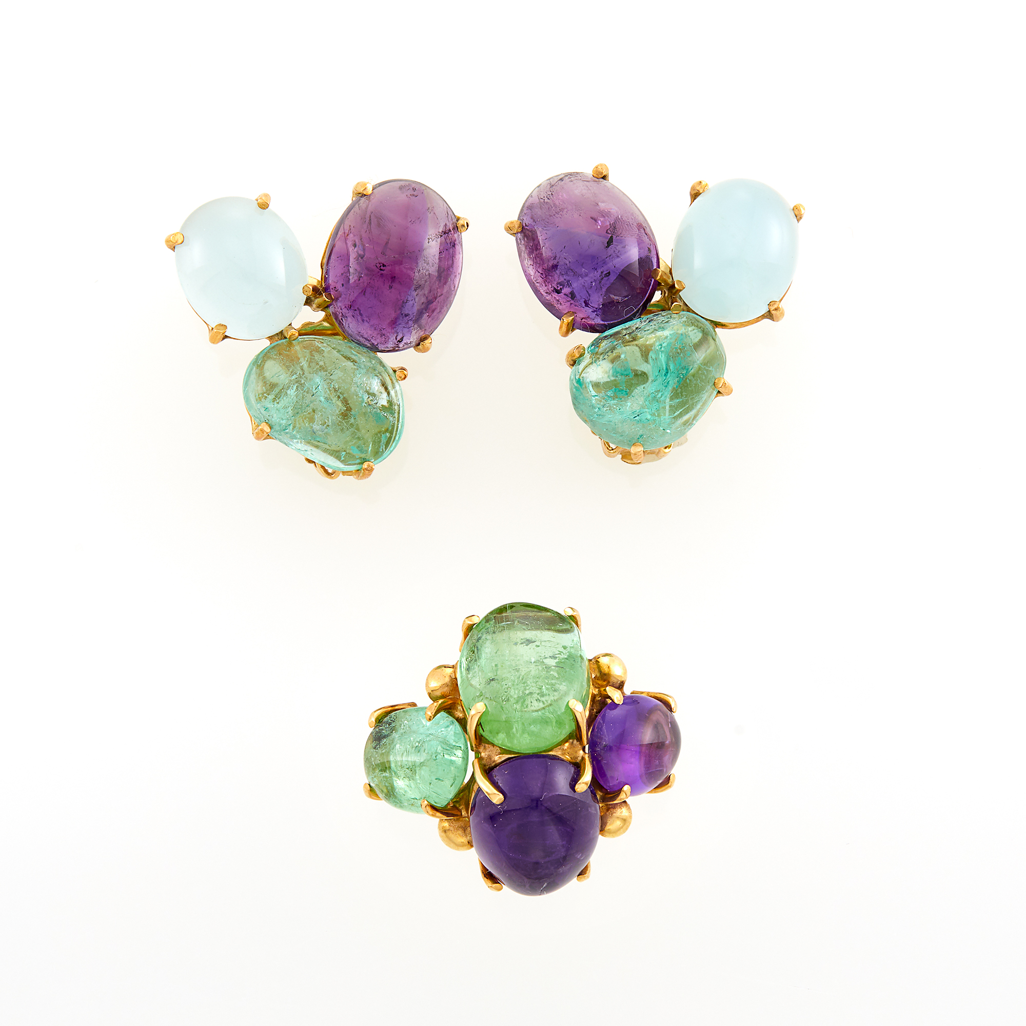 Lot image - Gold, Cabochon Amethyst and Emerald Ring and Pair of Earclips