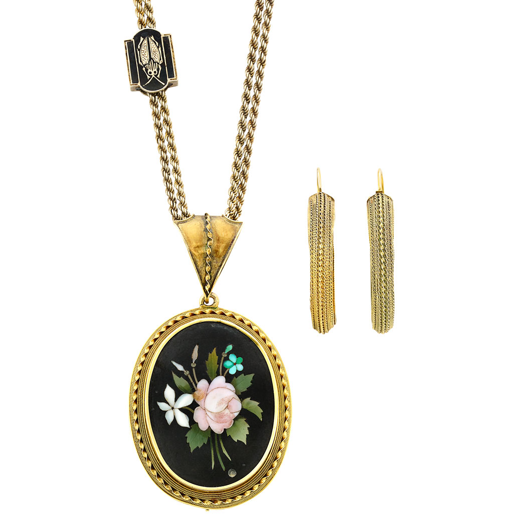 Lot image - Antique Gold and Pietra Dura Pendant with Gold Chain and Gold and Enamel Beetle Slide and Pair of Gold Hoop Earrings