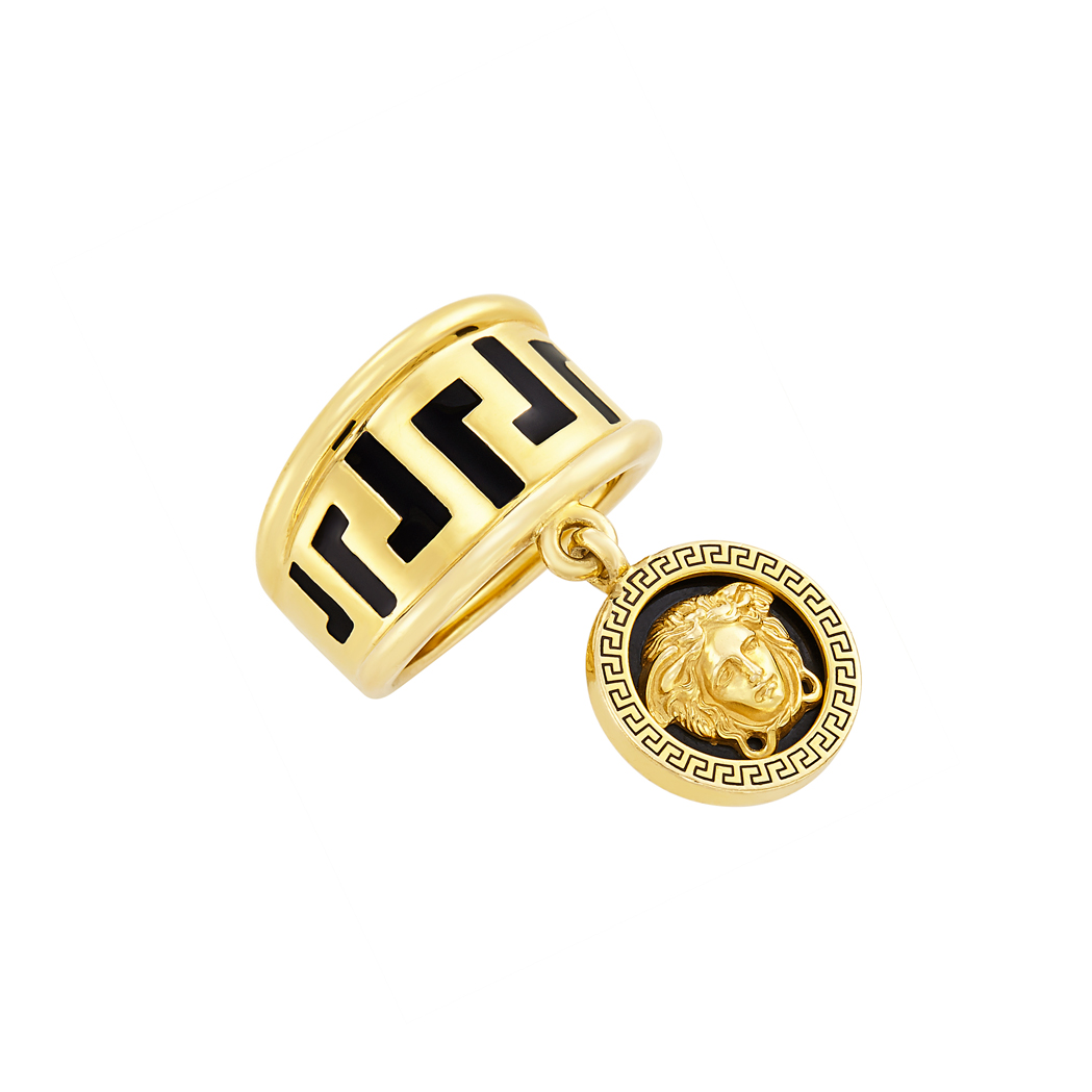 Lot image - Gold and Enamel Charm Ring, Versace