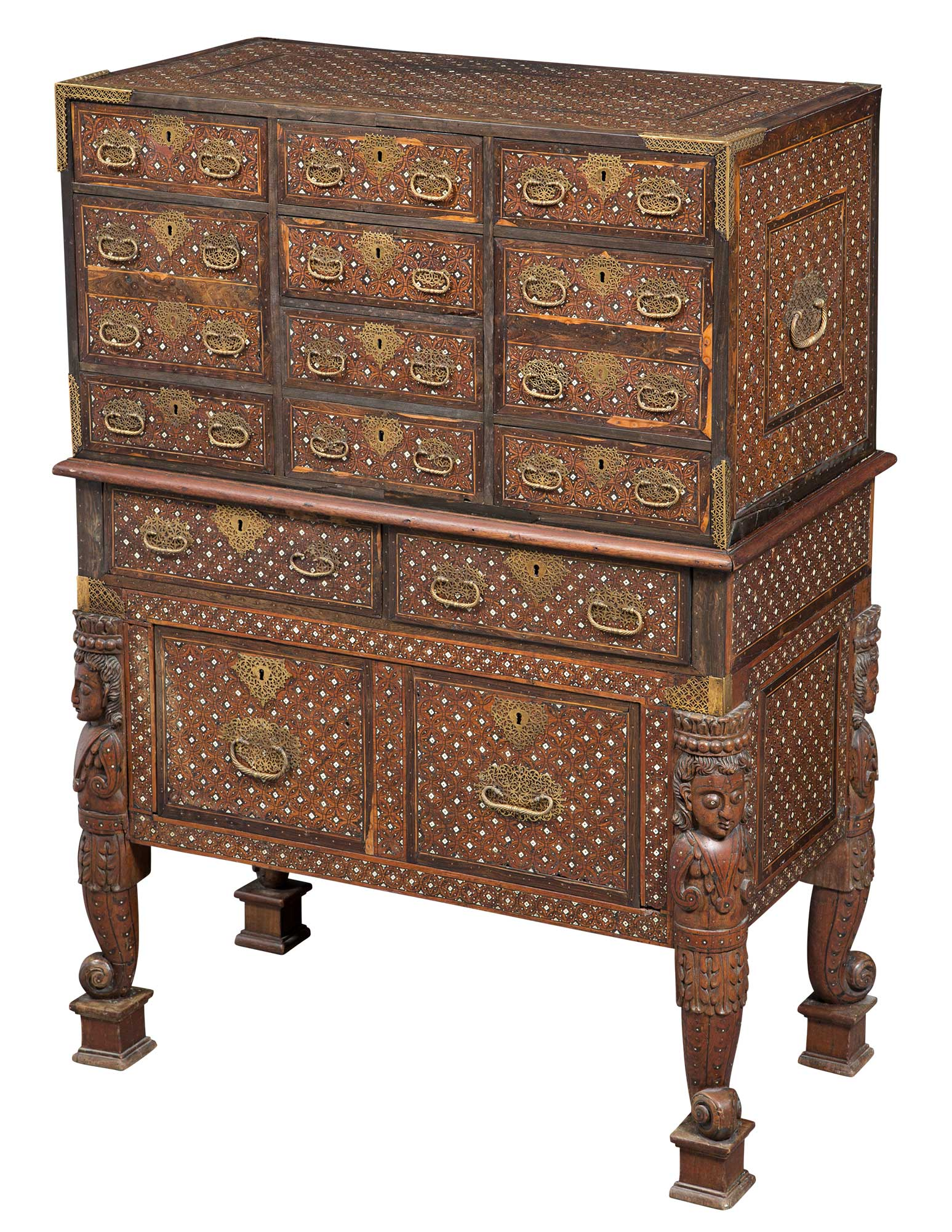 Lot image - Indo-Portuguese Gilt-Metal-Mounted Ivory- and Bone-Inlaid Rosewood, Teak and Ebony Cabinet on Stand Contador